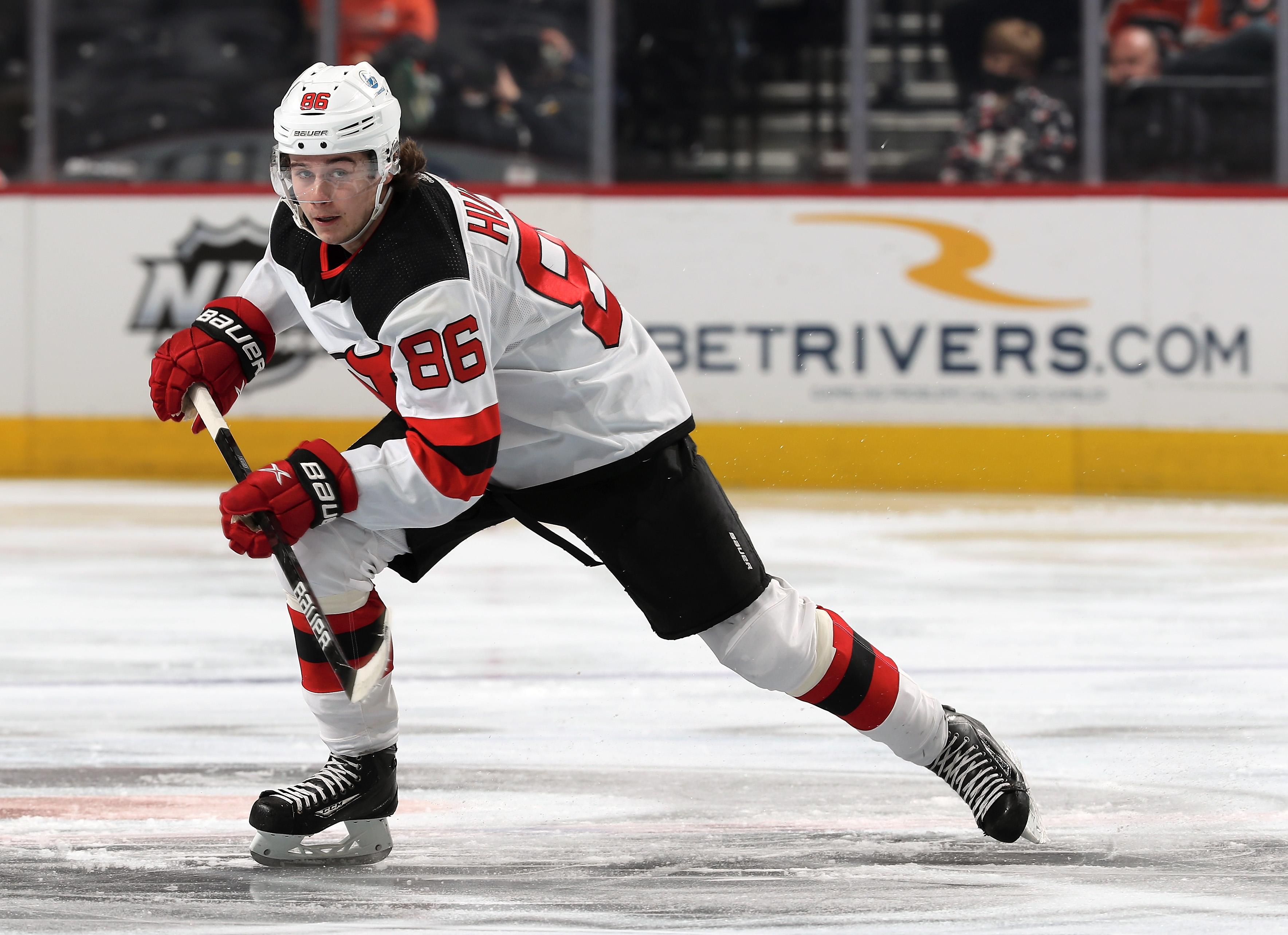 Jack Hughes #86 of the New Jersey Devils skates against the Philadelphia Flyers at the Wells Fargo Center on May 1, 2021 in Philadelphia, Pennsylvania.