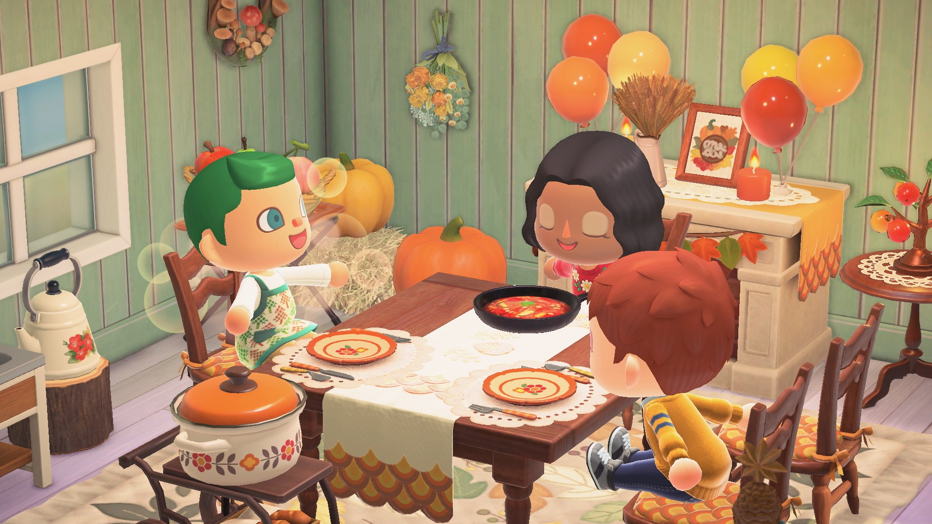 Three villagers sit at a table for a fall feast in Animal Crossing: New Horizons