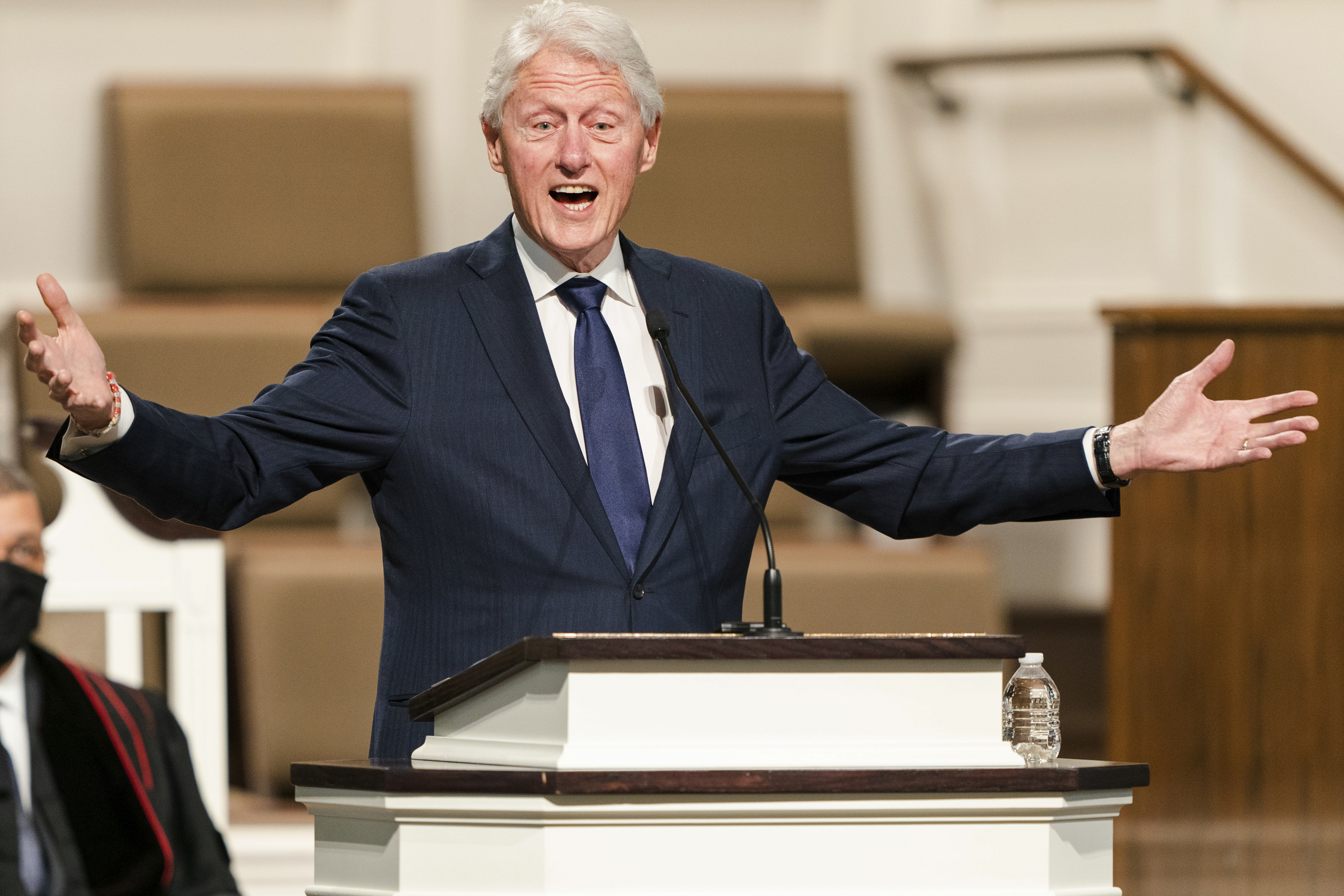 In this Jan. 27, 2021, file photo, former President Bill Clinton speaks during funeral services for baseball legend Hank Aaron, at Friendship Baptist Church in Atlanta.