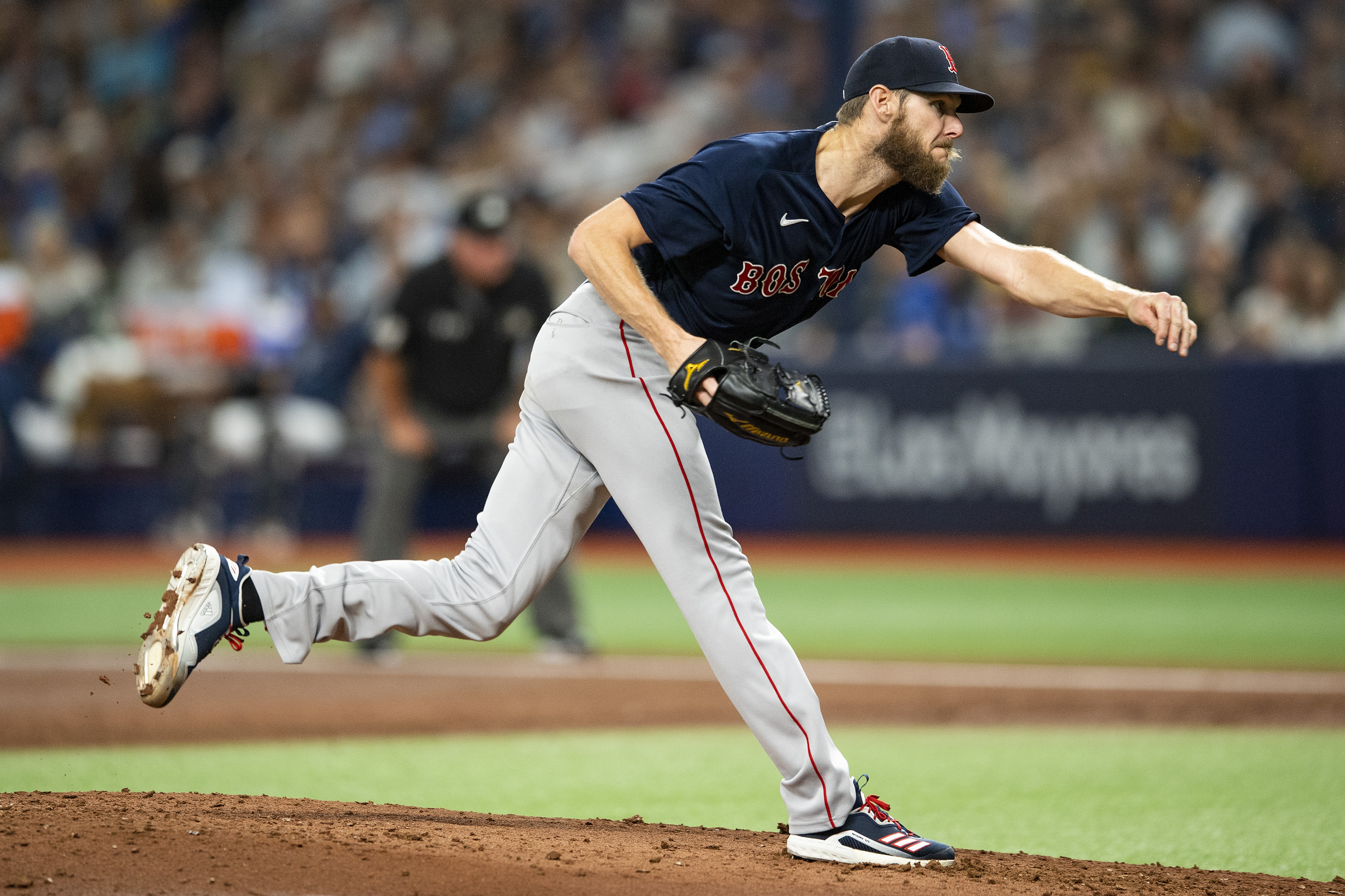 Chris Sale #41 of the Boston Red Sox delivers during the first inning of game two of the 2021 American League Division Series against the Tampa Bay Rays at Tropicana Field on October 8, 2021 in St Petersburg, Florida.