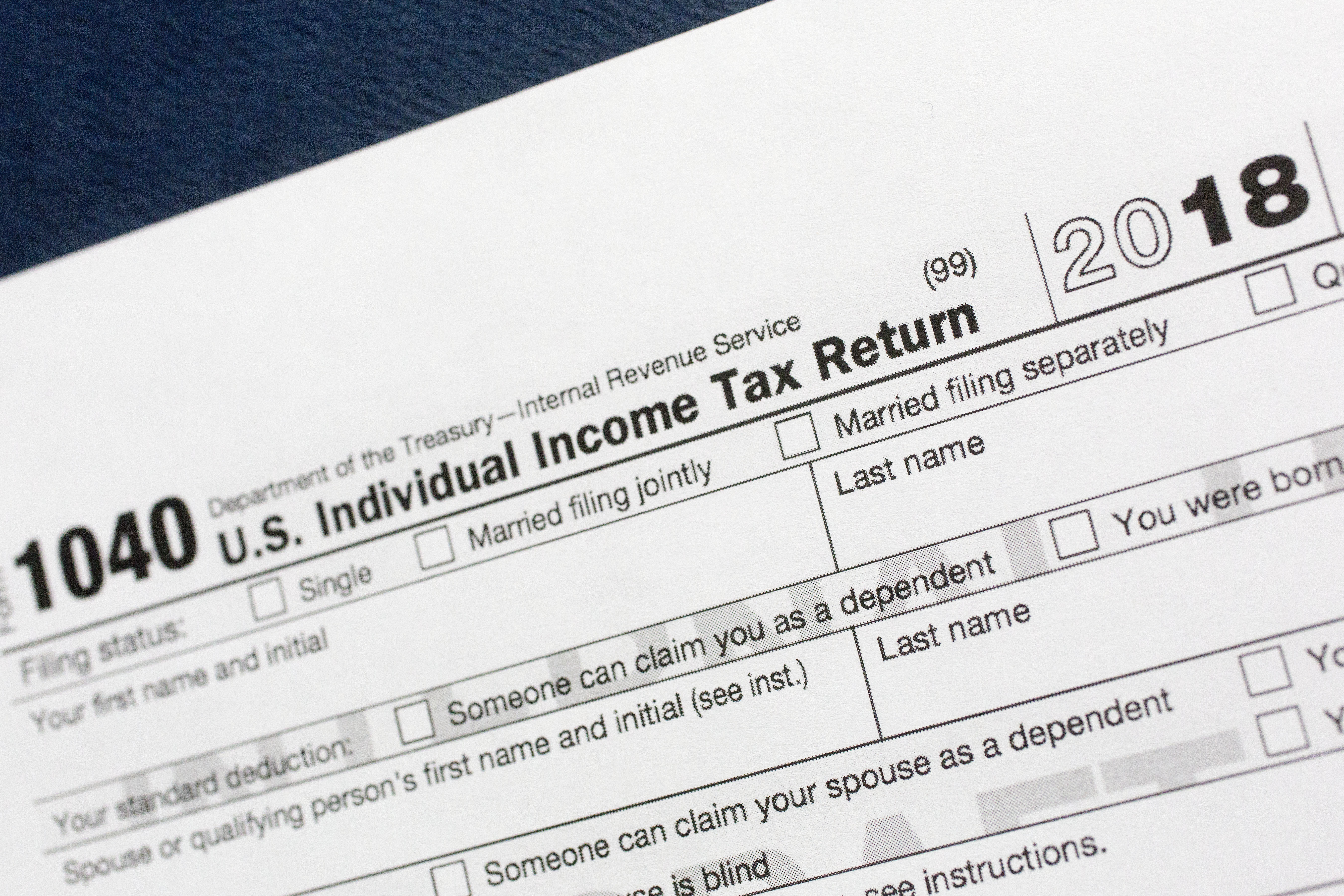 A portion of the 1040 U.S. individual income tax return form for 2018 is pictured in New York.