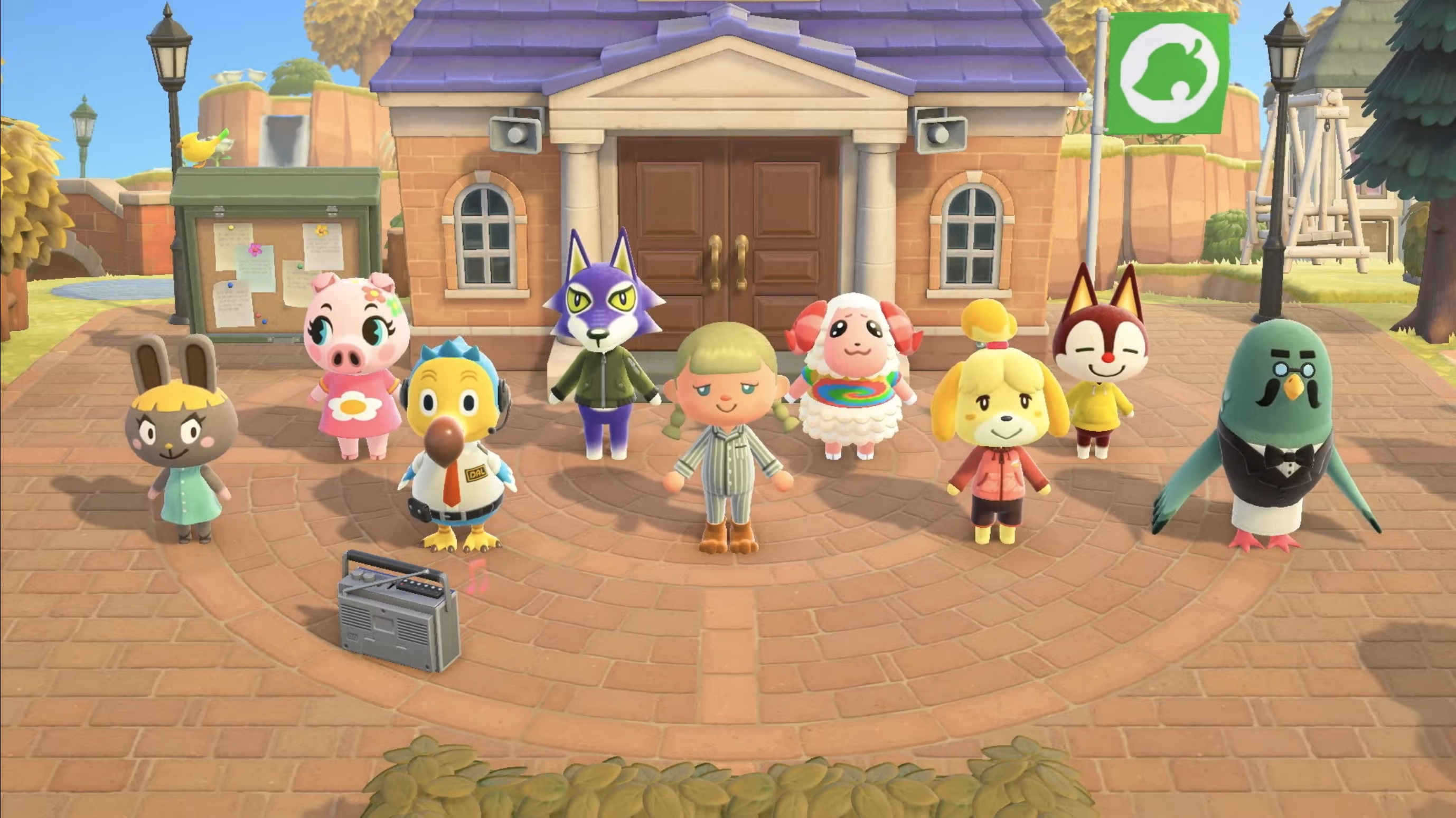 Animal Crossing characters doing yoga and other calisthenic exercises in the game