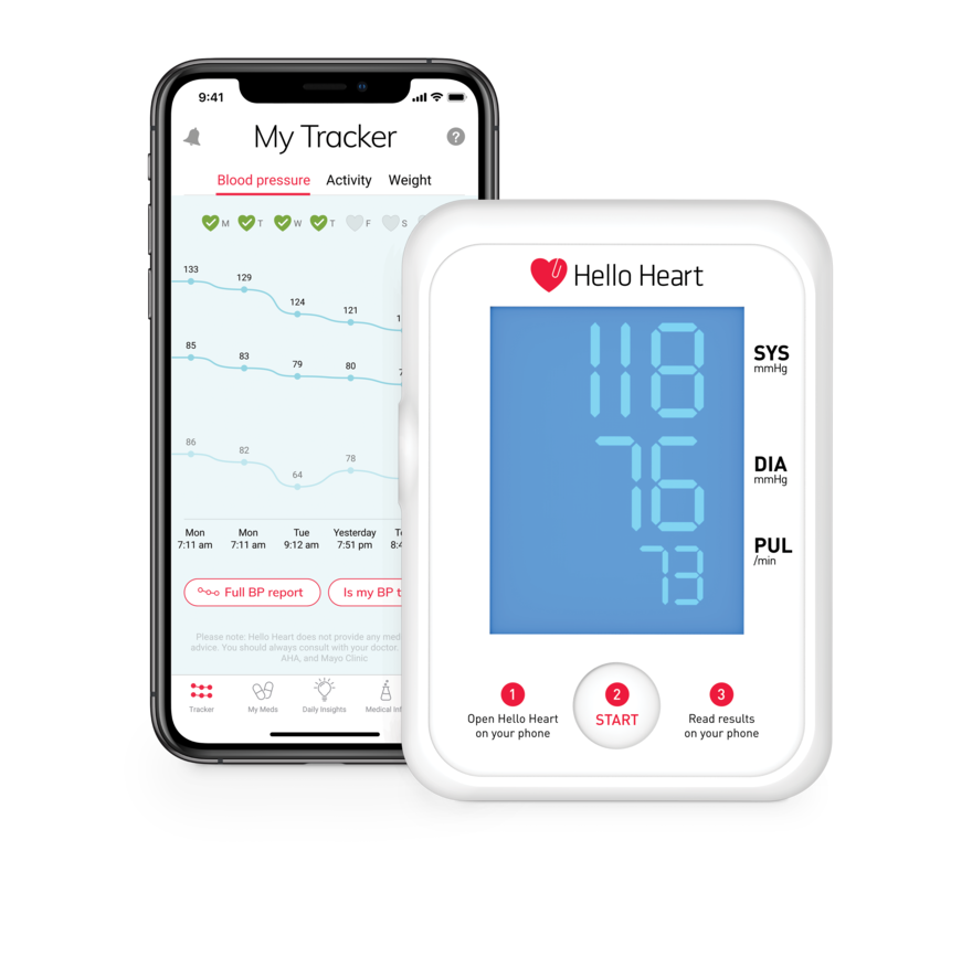 Hello Heart app and blood pressure monitor.