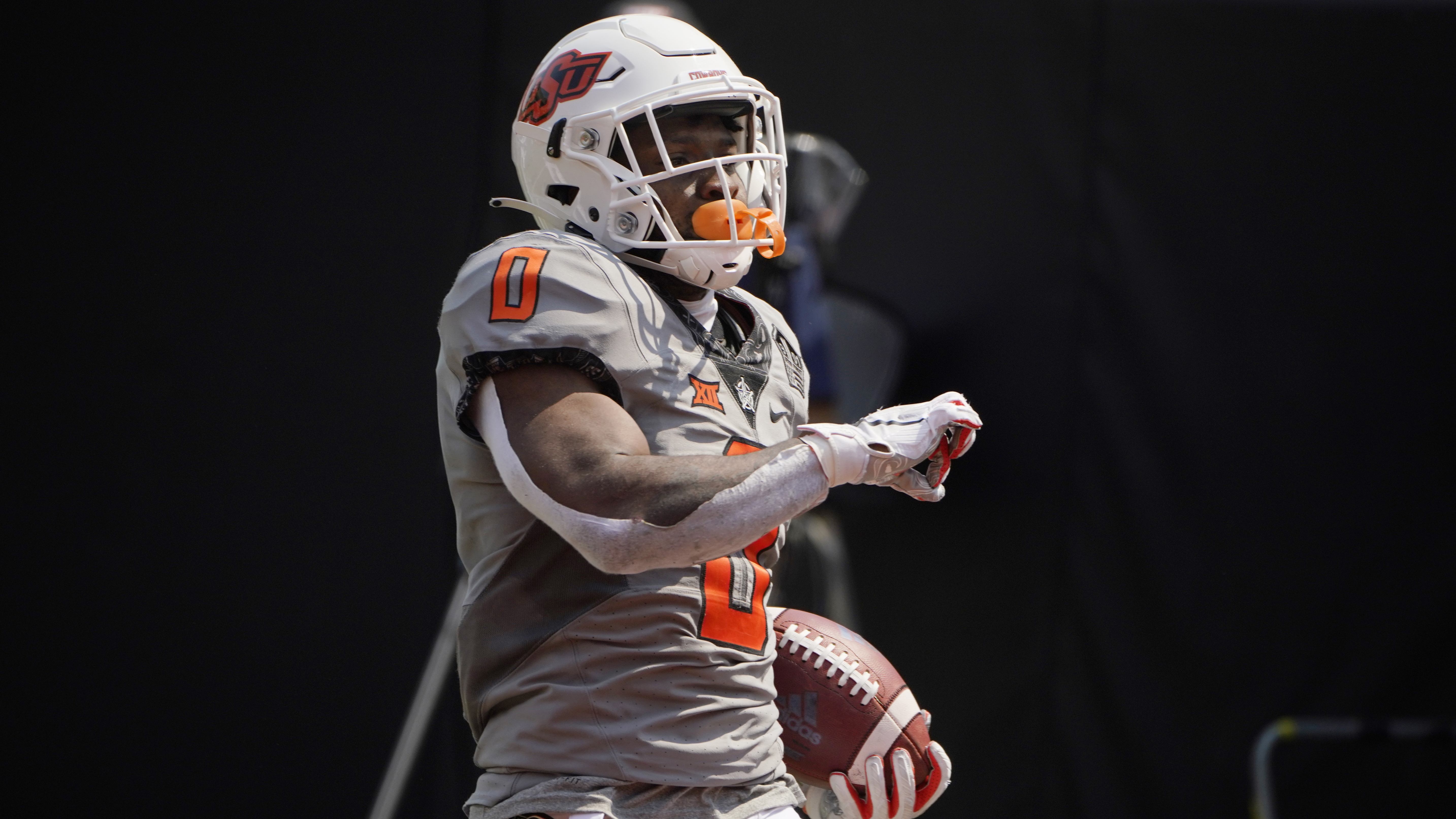 Oklahoma State running back LD Brown during an NCAA college football game against Tulsa.