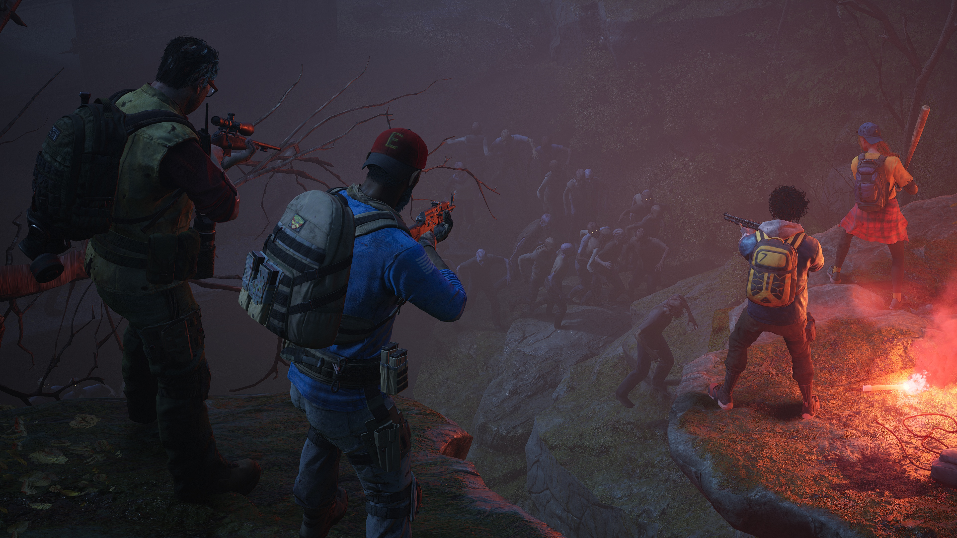 Human survivors aim at a swarm of zombies in a screenshot from Back 4 Blood