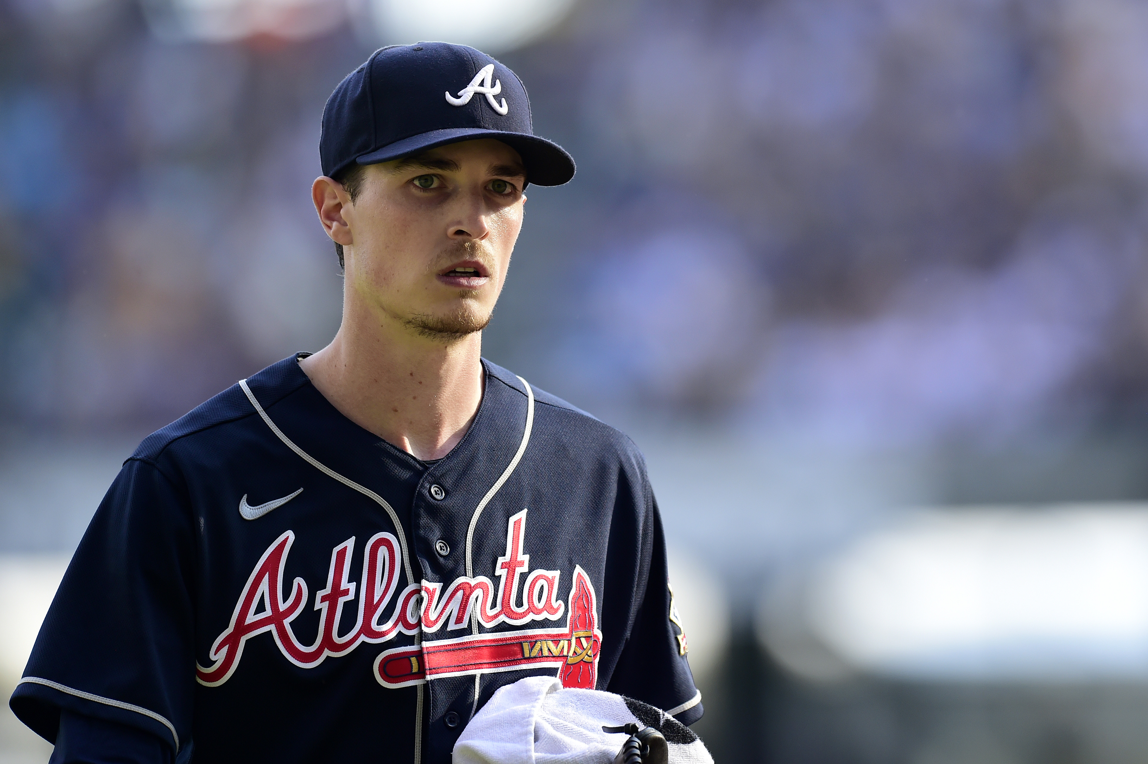 Max Fried #54 of the Atlanta Braves on the field prior to game 2 of the National League Division Series against the Milwaukee Brewers at American Family Field on October 09, 2021 in Milwaukee, Wisconsin.