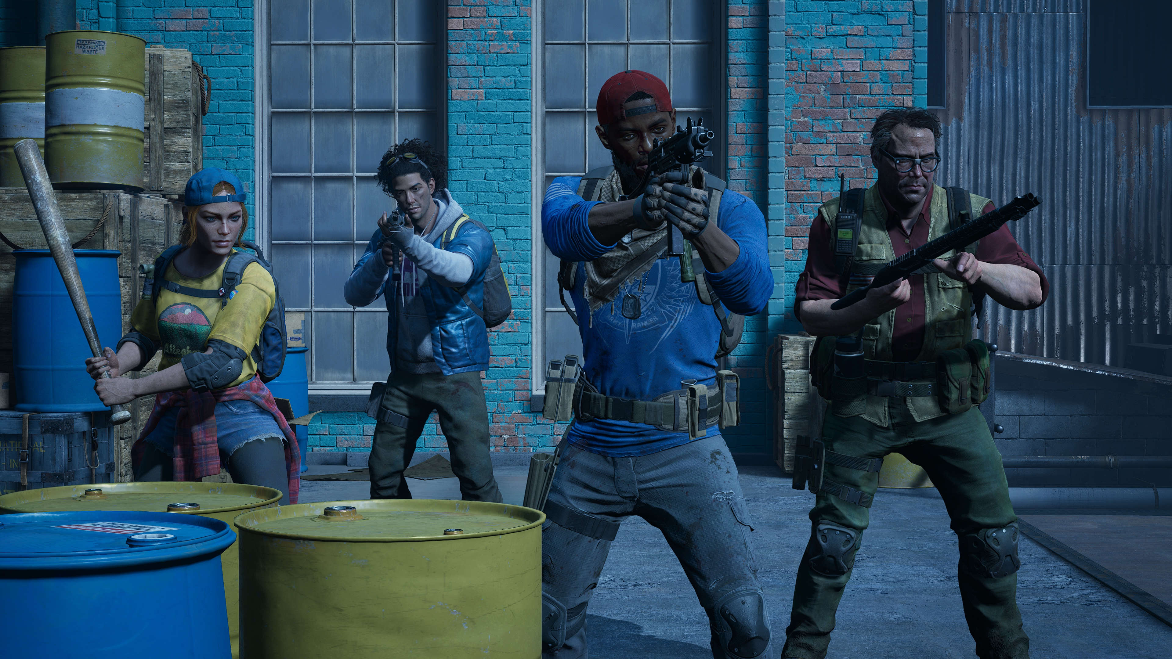 Four human characters hold weapons in a screenshot from Back 4 Blood.