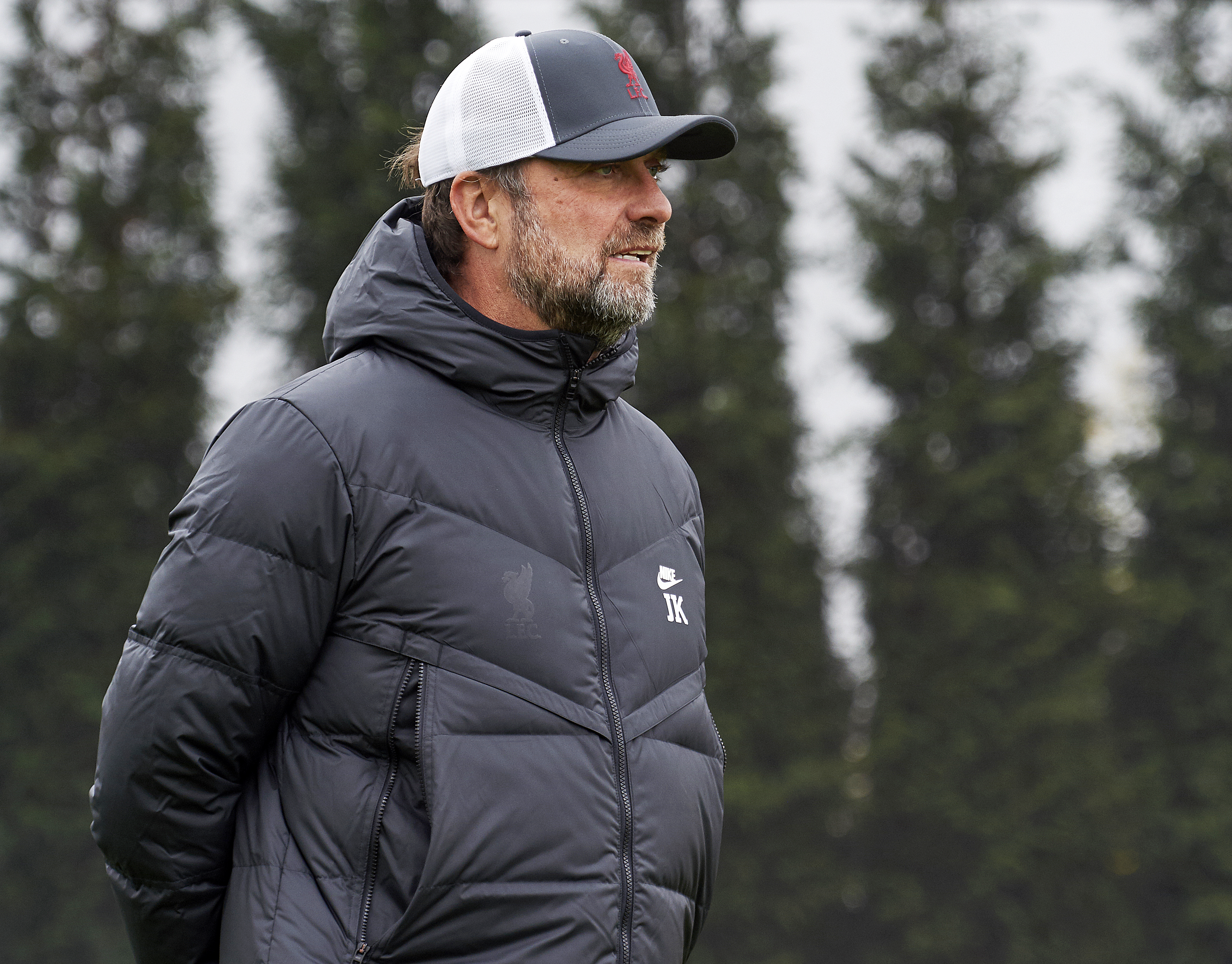 Manager Jurgen Klopp of Liverpool during a training session at AXA Training Centre on October 12, 2021 in Kirkby, England.