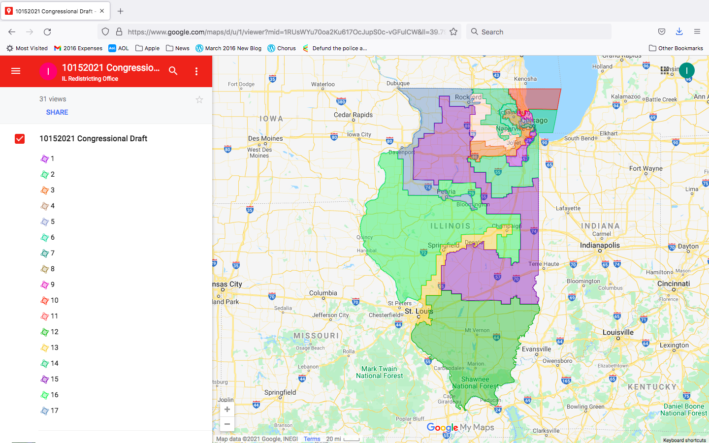Proposed Illinois 17-district congressional remap, released today.