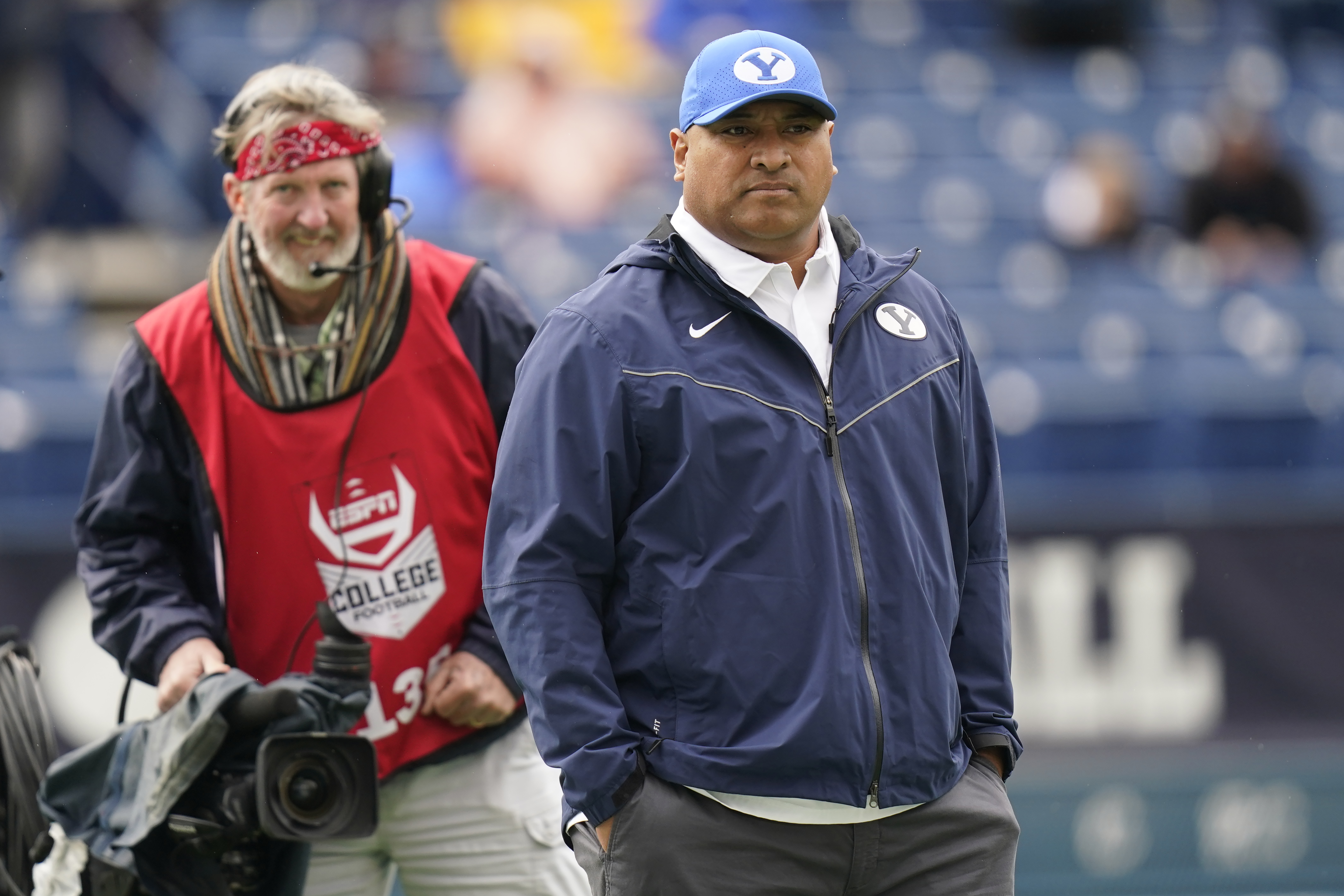 BYU head coach Kalani Sitake looks on before the start of their game against Boise State in Provo, Utah, Oct. 9, 2021.