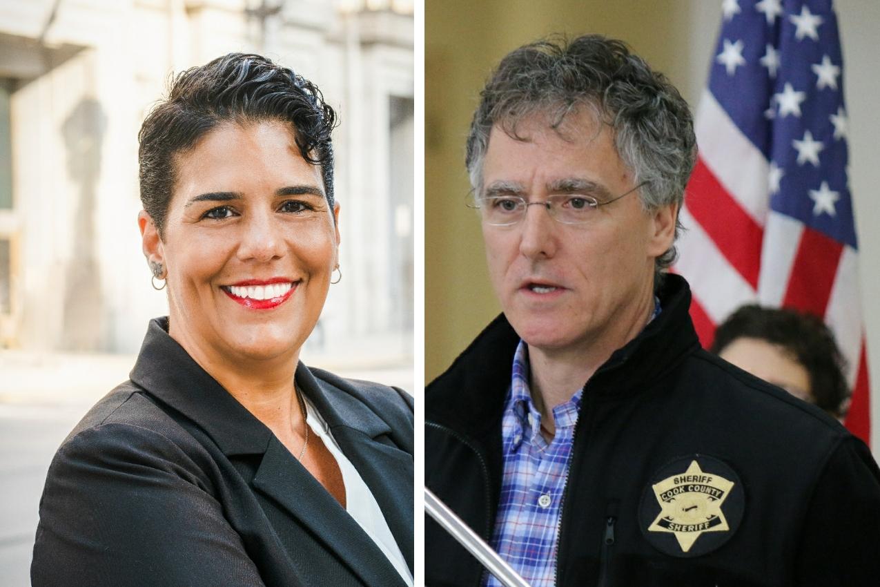 Democratic challenger Carmen Navarro Gercone, left; Cook County Sheriff Tom Dart, right.