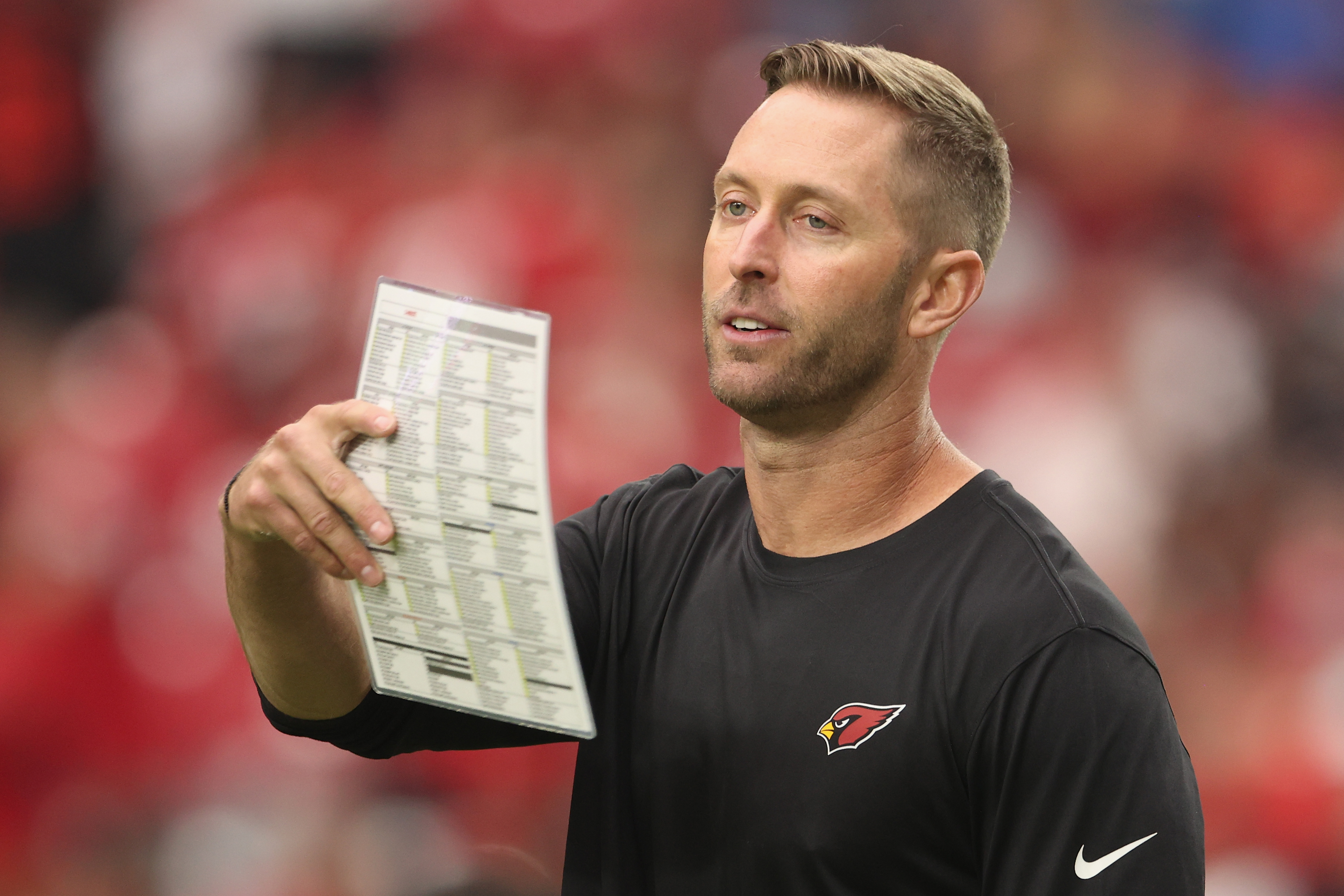 Head coach Kliff Kingsbury of the Arizona Cardinals during the NFL game at State Farm Stadium on October 10, 2021 in Glendale, Arizona.