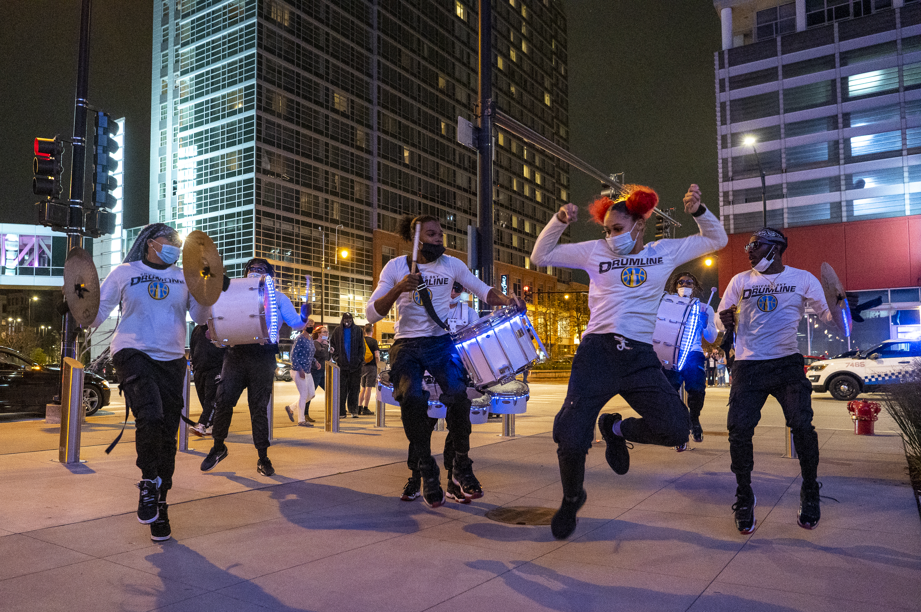 The Chicago Sky Drumline performs outside the Wintrust Arena, before game 3 of the WNBA finals