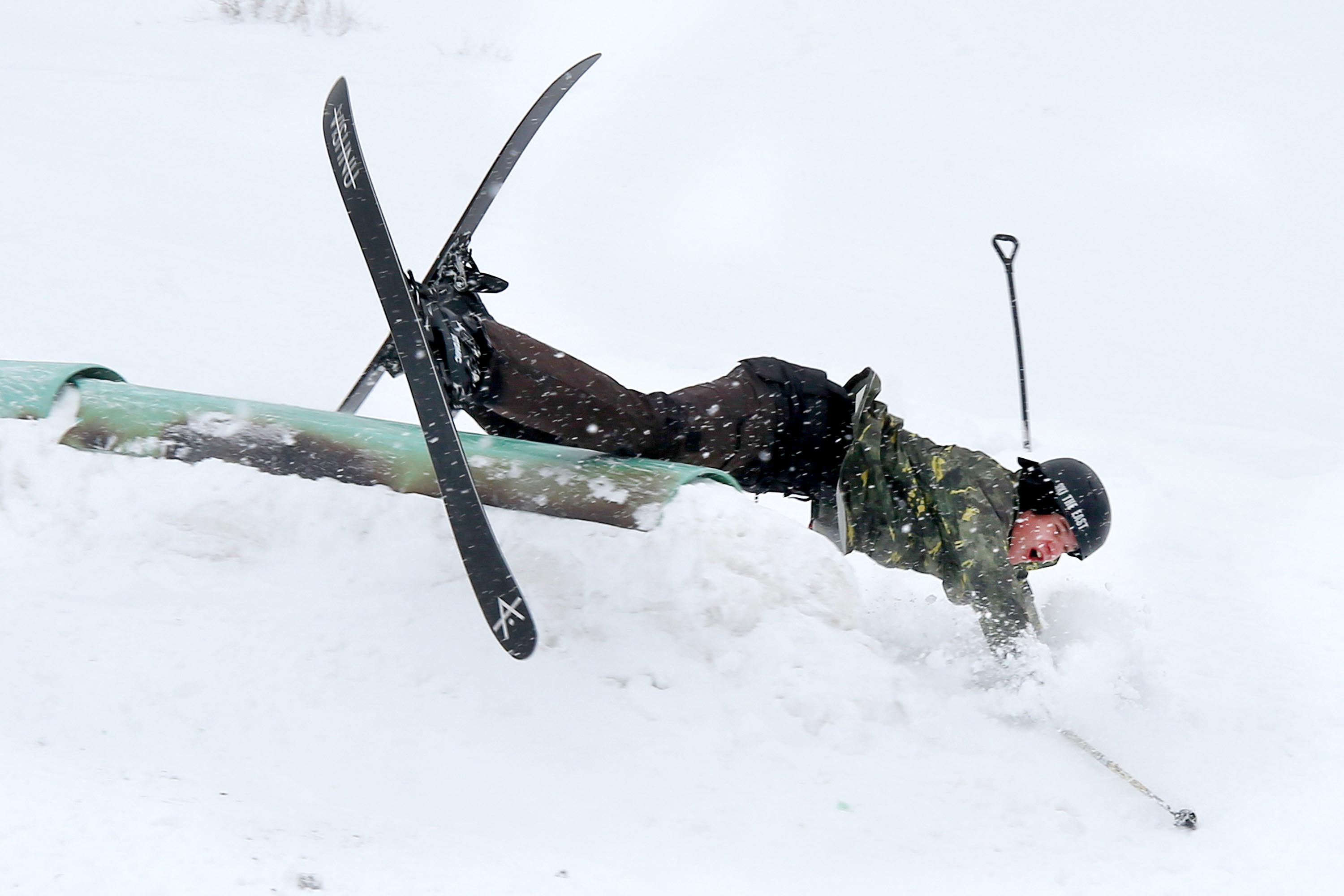 A skier slams into the ground during an airborne skill practice at Alta Ski Area in Little Cottonwood Canyon on Nov. 9, 2020.