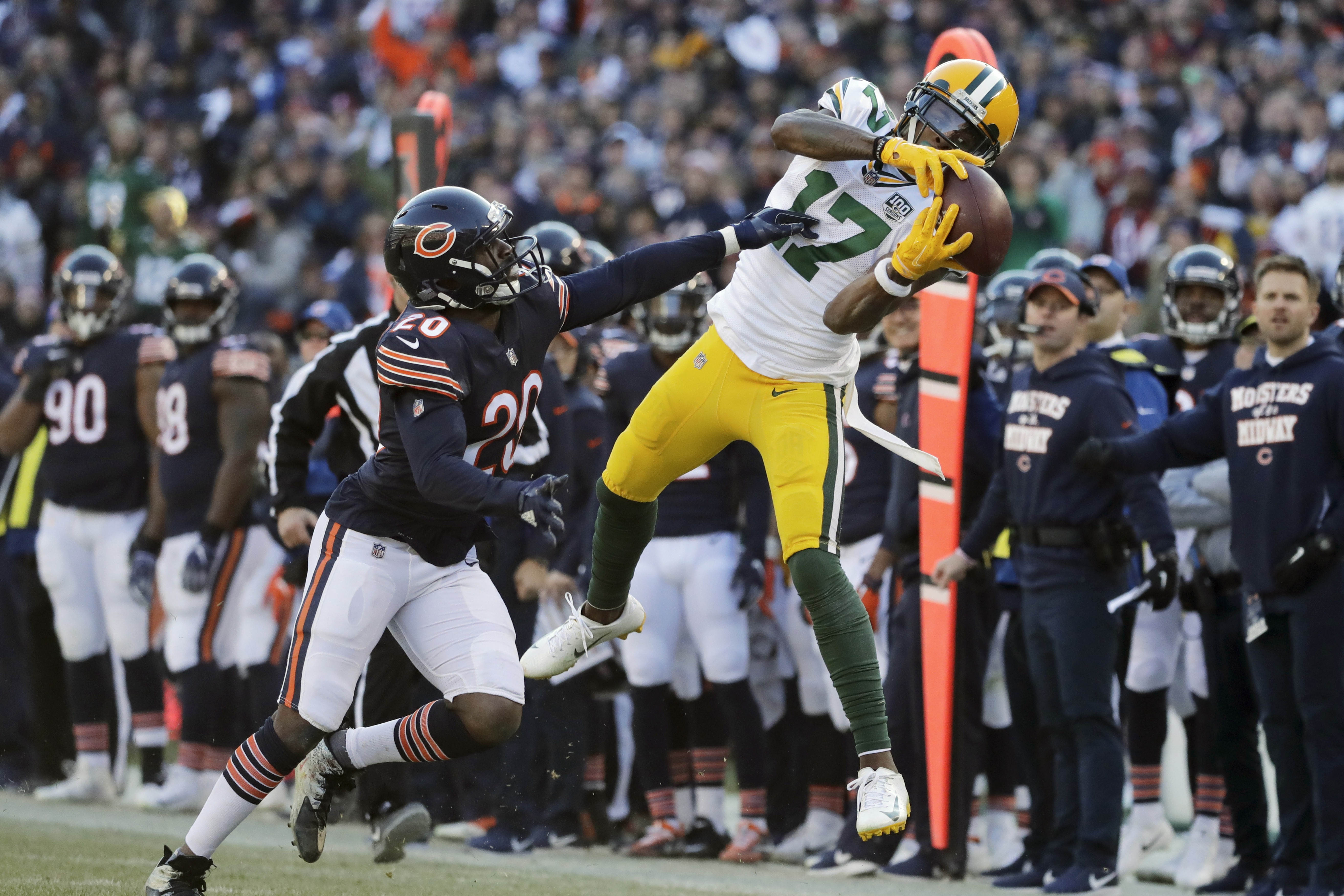 Packers wide receiver Davante Adams (making a difficult catch against Bears cornerback Prince Amukamara in 2018) had 11 receptions for 206 yards and a touchdown against the Bengals last week \