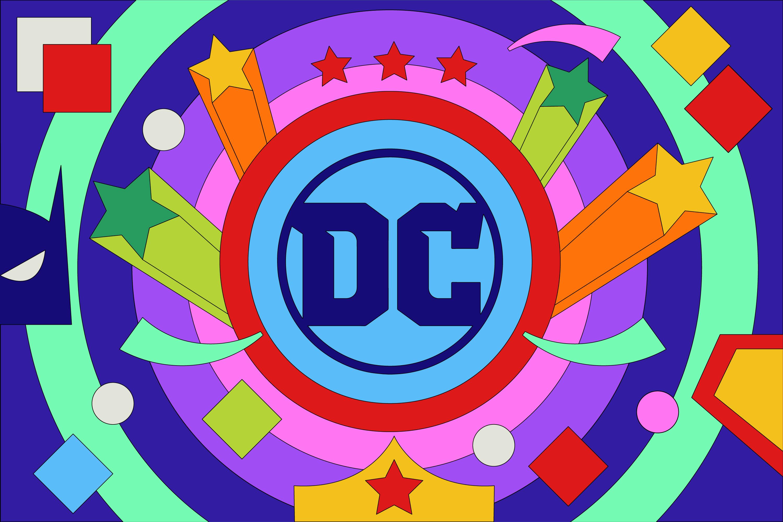 Bright, colorful illustration of DC Comics logo