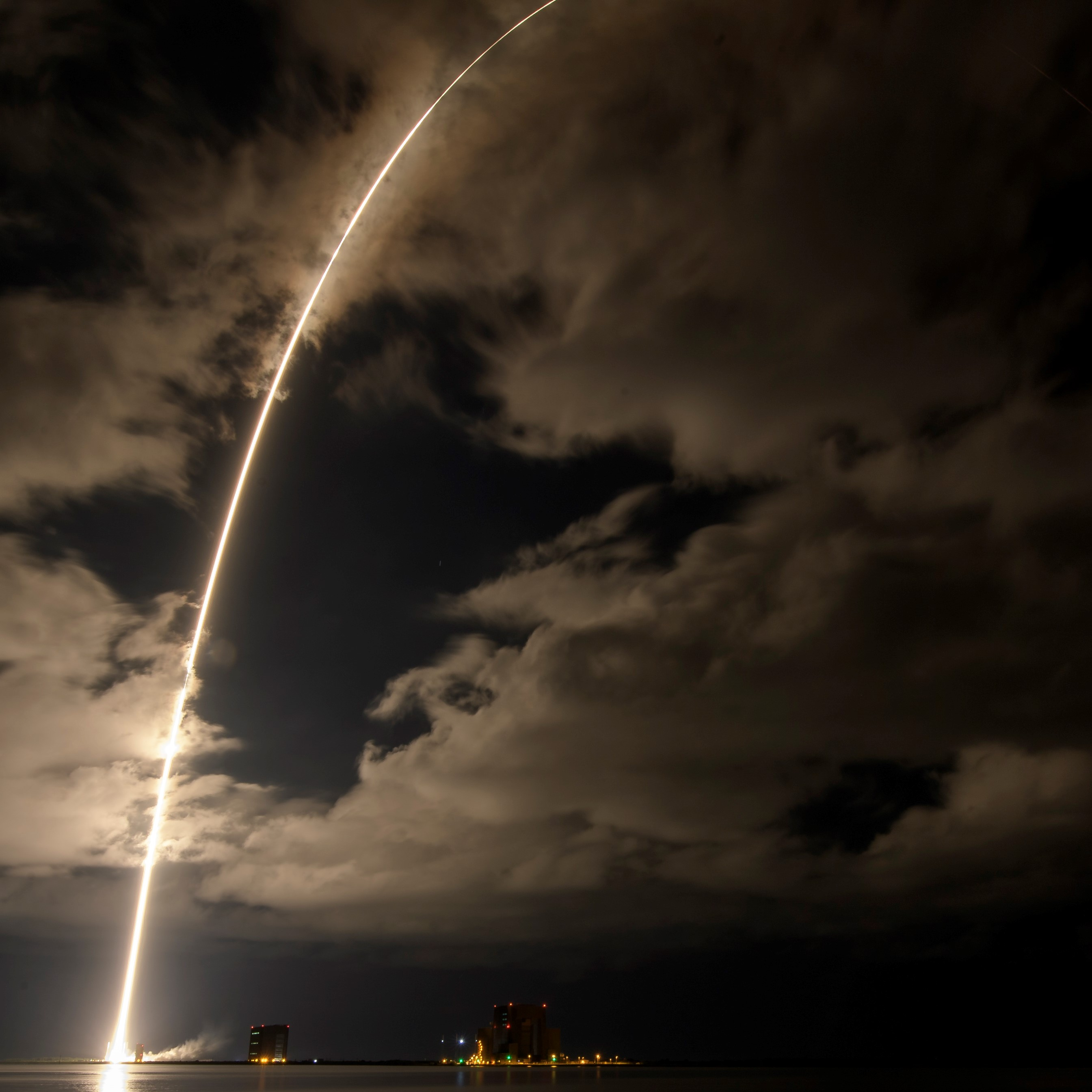 A United Launch Alliance Atlas V rocket with the Lucy spacecraft aboard is seen in this 2 minute and 30 second exposure photograph as it launches from Space Launch Complex 41, Saturday, Oct. 16, 2021, at Cape Canaveral Space Force Station in Florida.