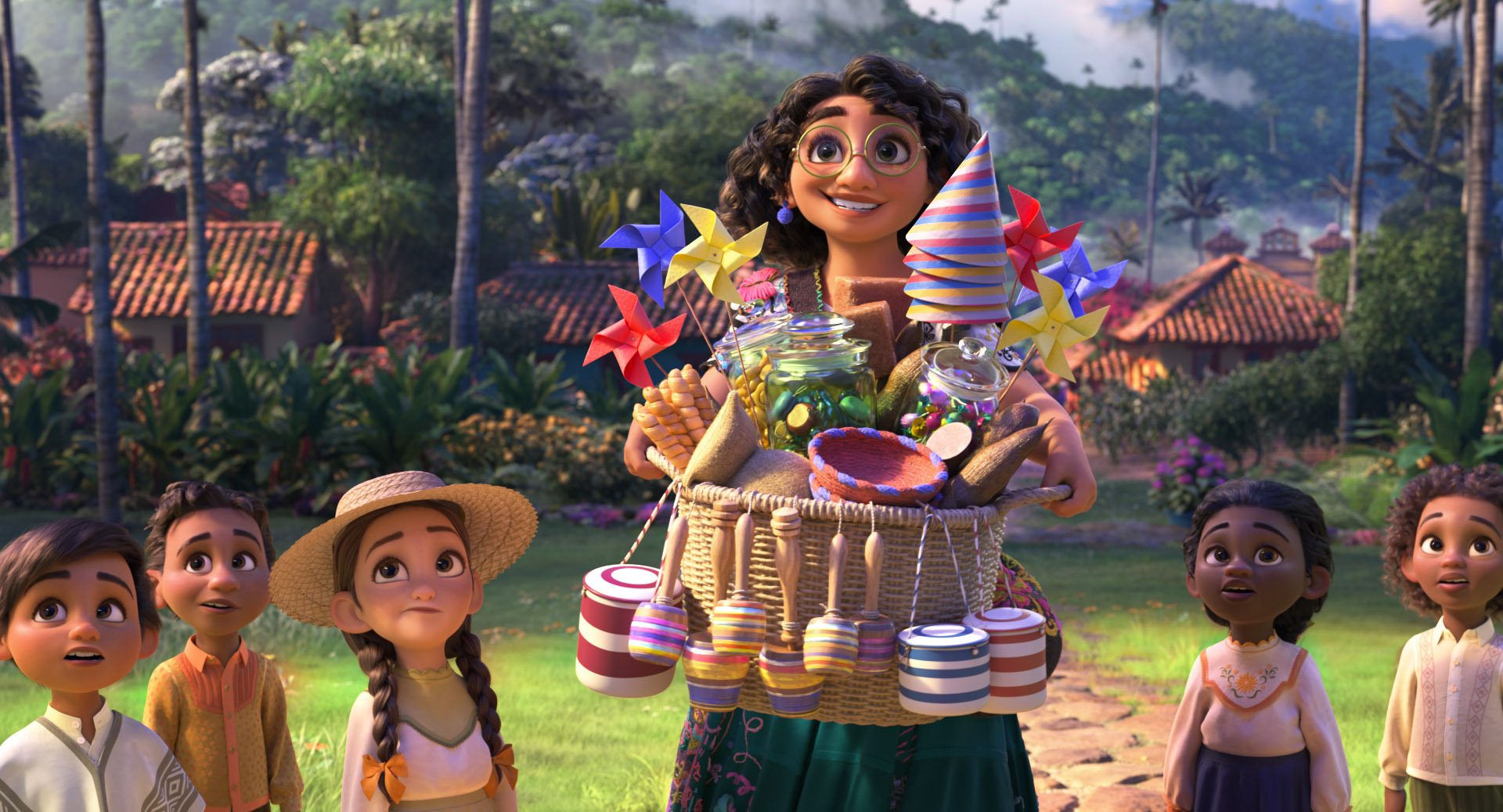 """This image released by Disney shows Mirabel, voiced by Stephanie Beatriz, in a scene from the animated film """"Encanto."""""""