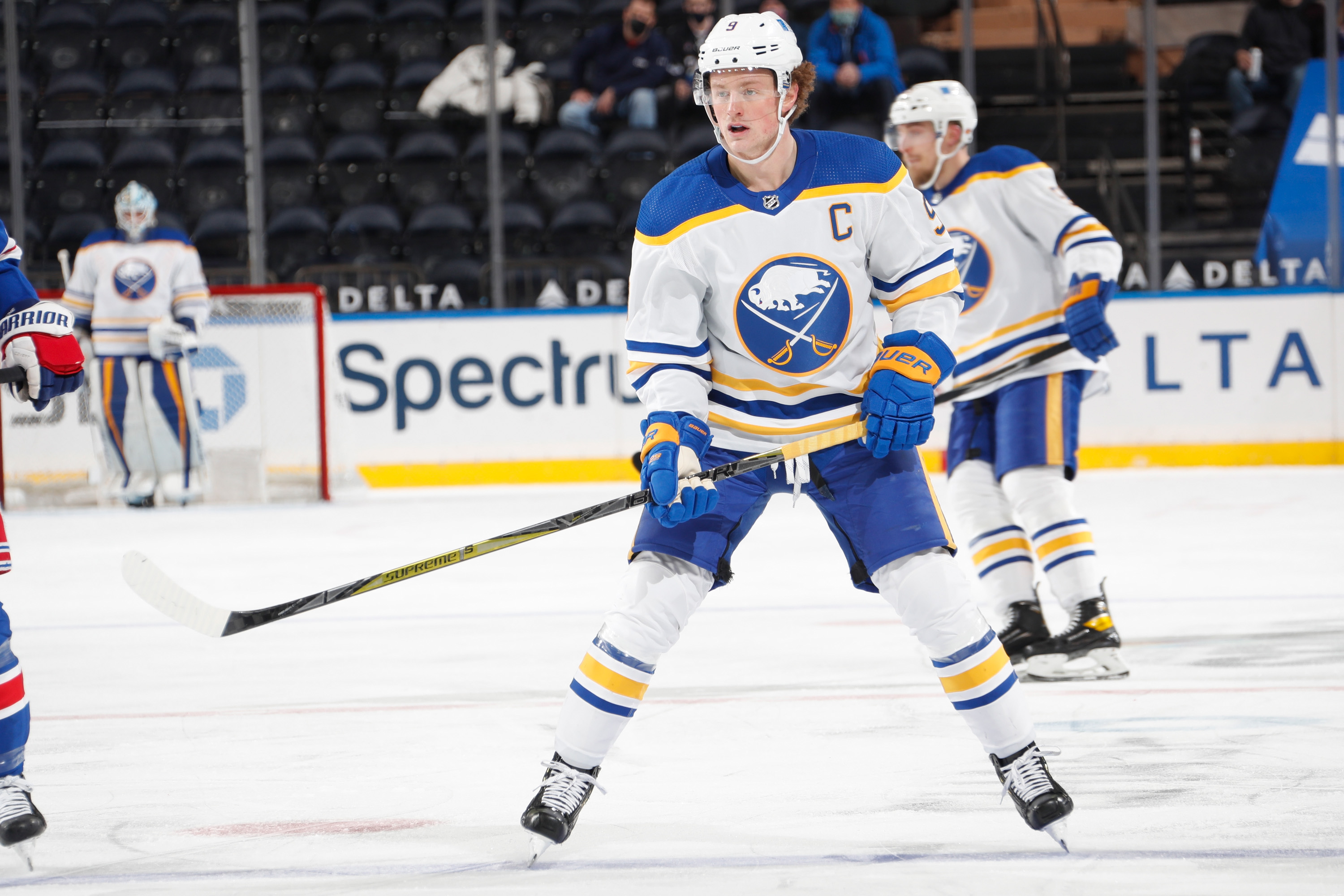 Jack Eichel #9 of the Buffalo Sabres skates against the New York Rangers at Madison Square Garden on March 2, 2021 in New York City.