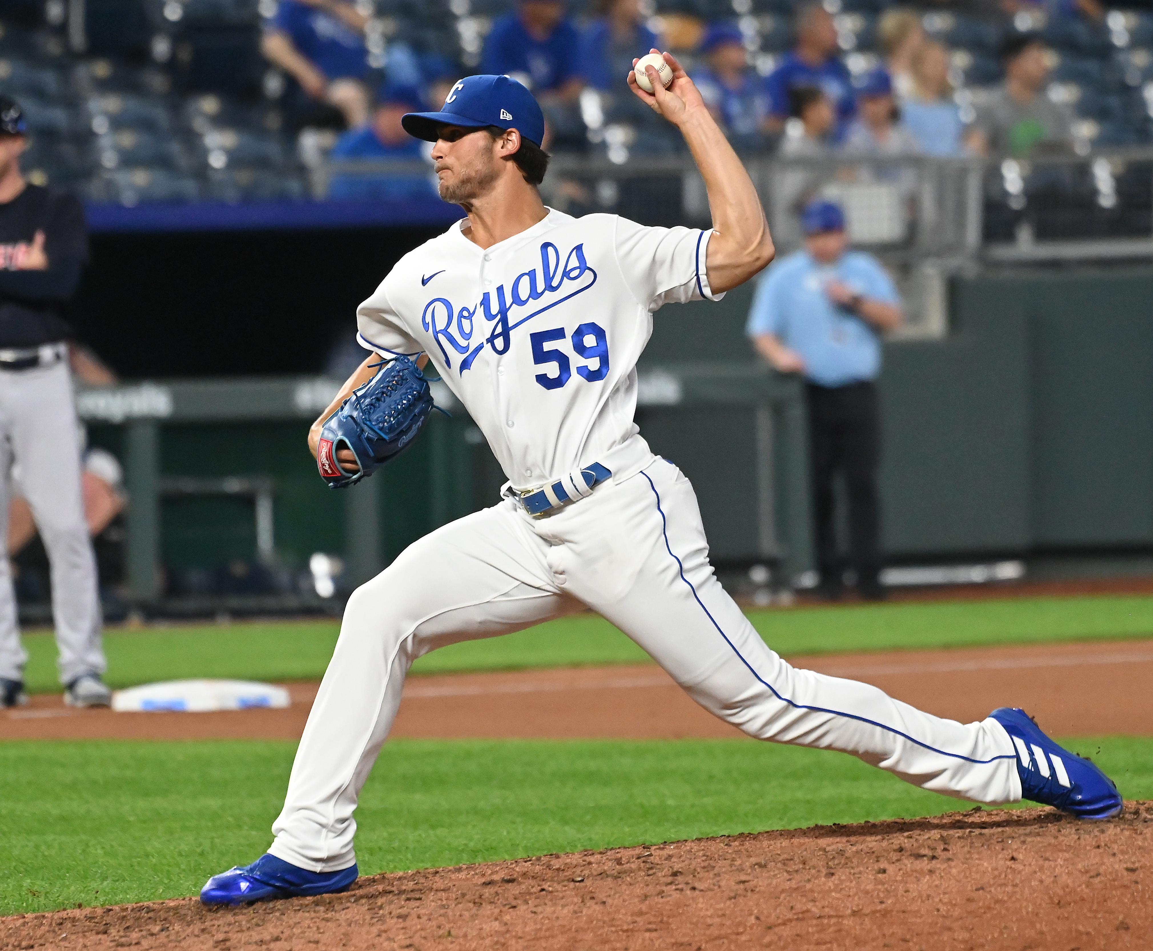 Jake Brentz throws a pitch