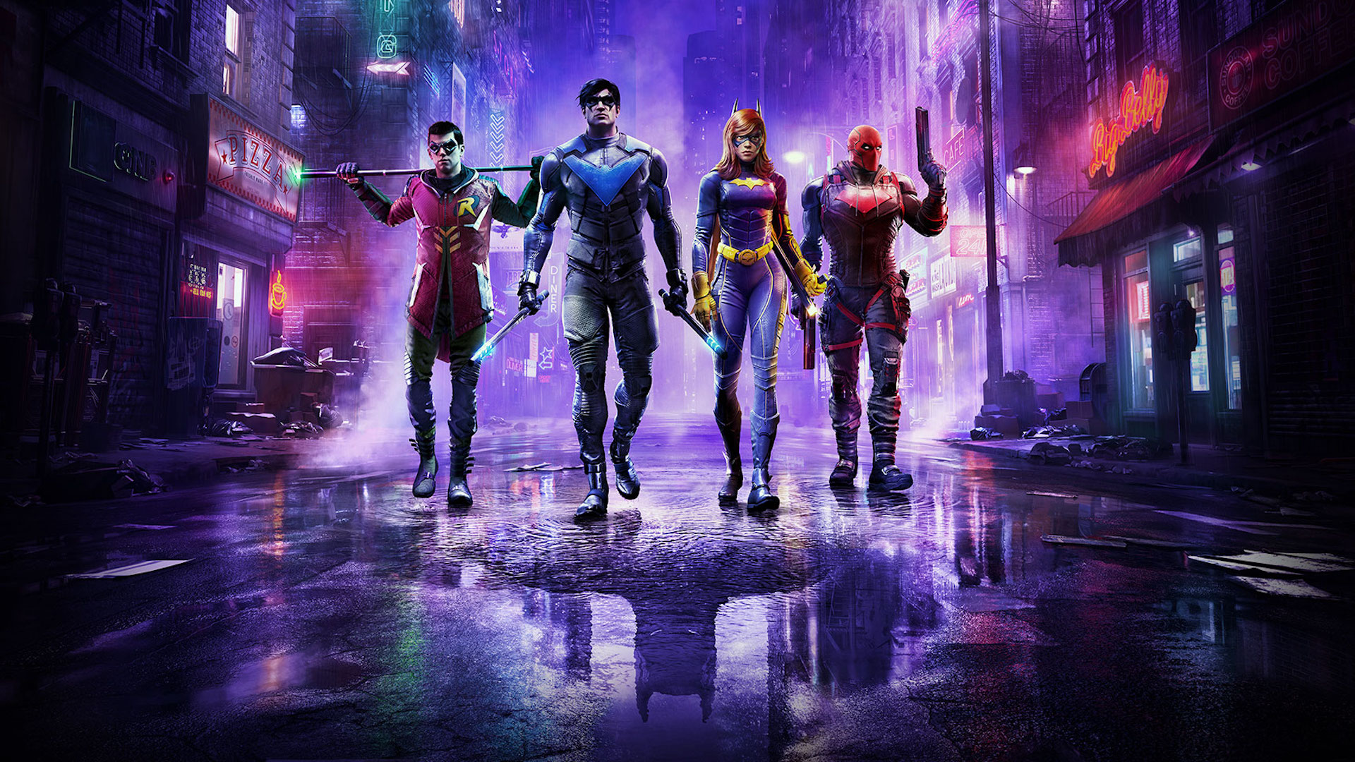 Robin, Nightwing, Batgirl, and Red Hood walk down a wet alley in artwork from Gotham Knights