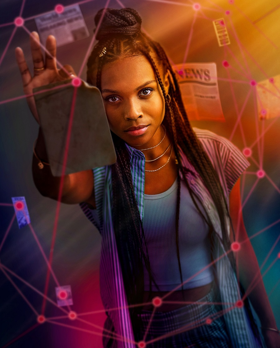 Kaci Walfall as Naomi in preview art for Naomi on the CW.
