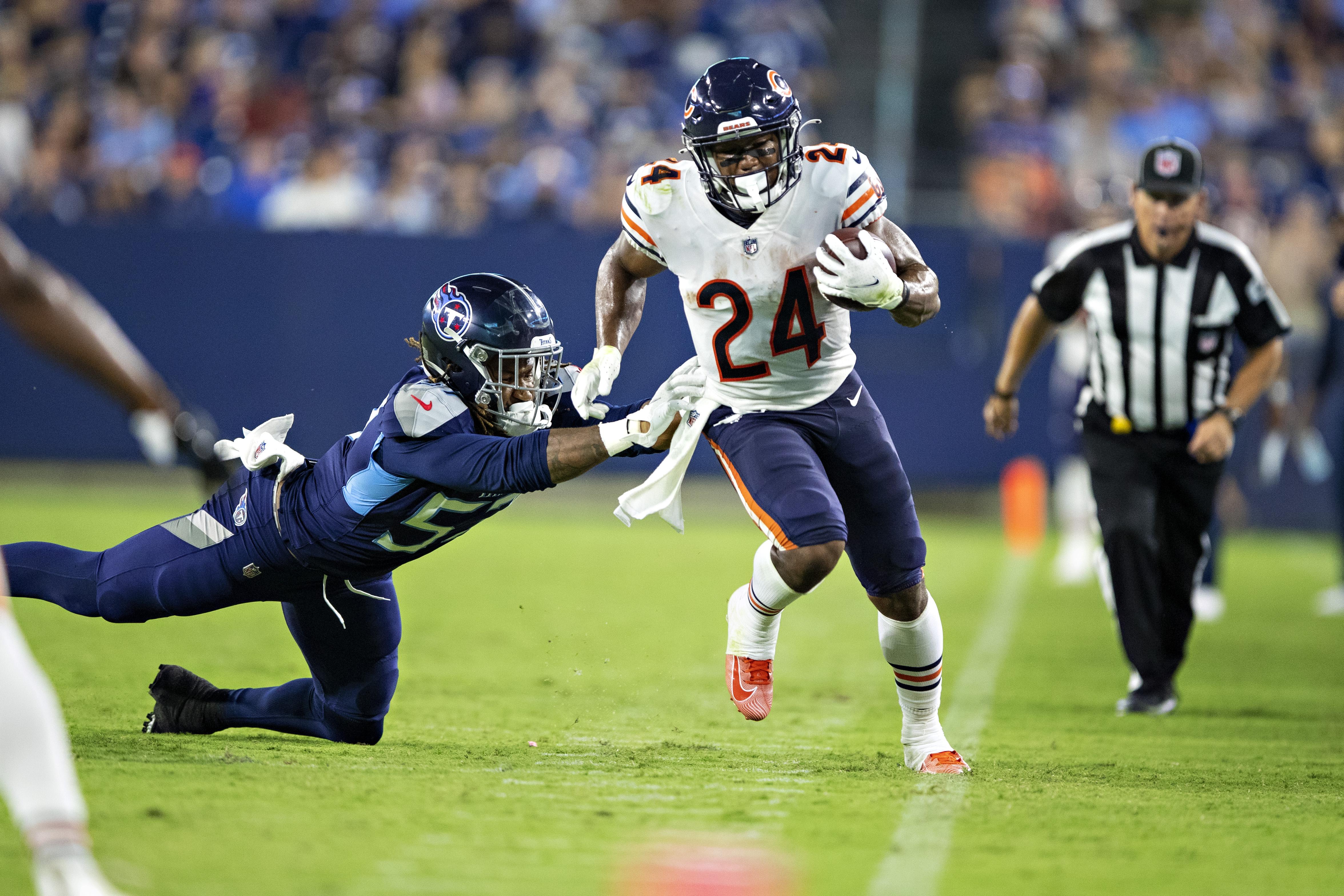 Bears rookie running back Khalil Herbert (24) had 18 carries for 75 yards (4.2 avg.) against the Raiders last week.