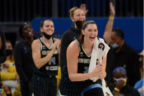 Stefanie Dolson (foreground) leads the cheers during the Sky's victory Friday in Game 3 of the WNBA Finals at Wintrust Arena.