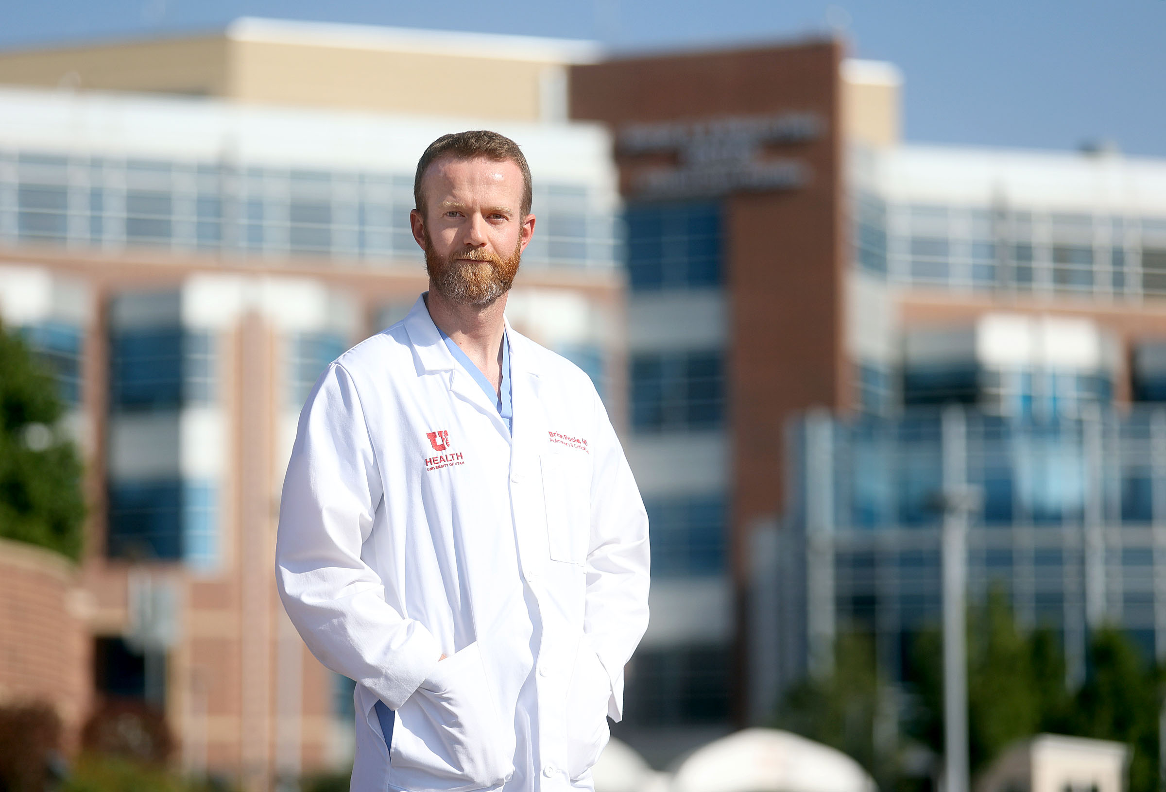 Dr. Brian Poole, a pulmonary and critical care medicine fellow, poses for a portrait near the University of Utah Hospital in Salt Lake City on Tuesday, Sept. 14, 2021.