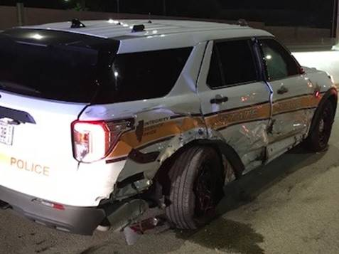 An Illinois State Police squad car after it was a struck by a drunk driver early Saturday on Interstate 90 near Rolling Meadows.