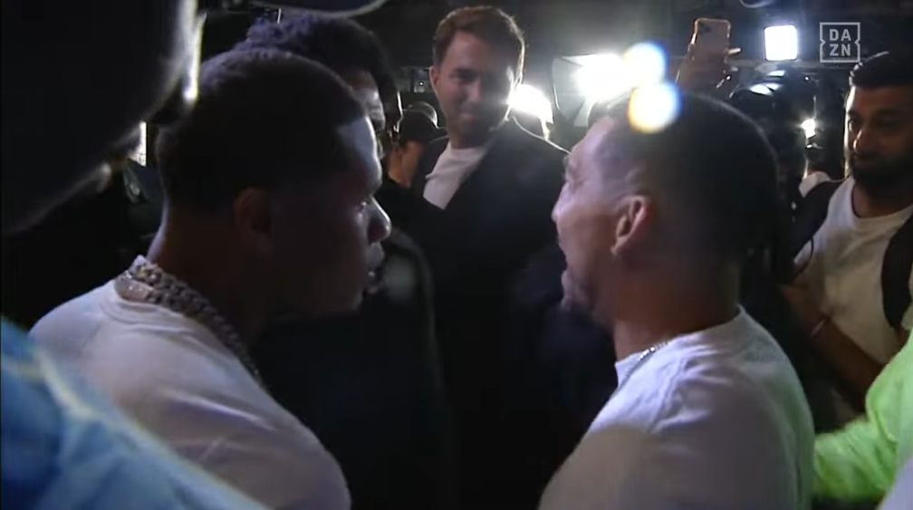 Words were exchanged but nothing more between Teofimo Lopez and Devin Haney