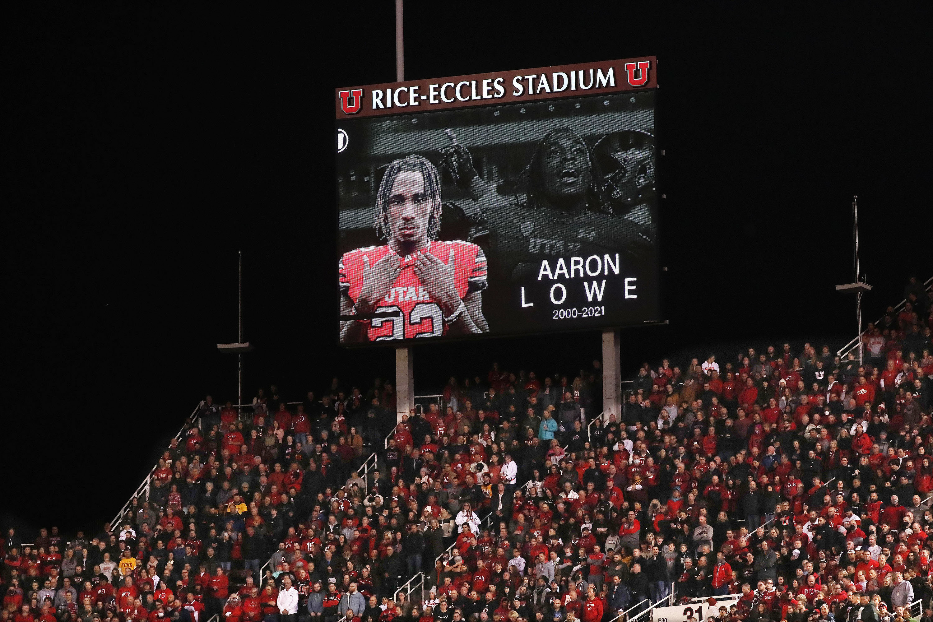 Sophomore defensive back Aaron Lowe, who was shot and killed on Sept. 26, is honored in Salt Lake City on Saturday, Oct. 16, 2021.