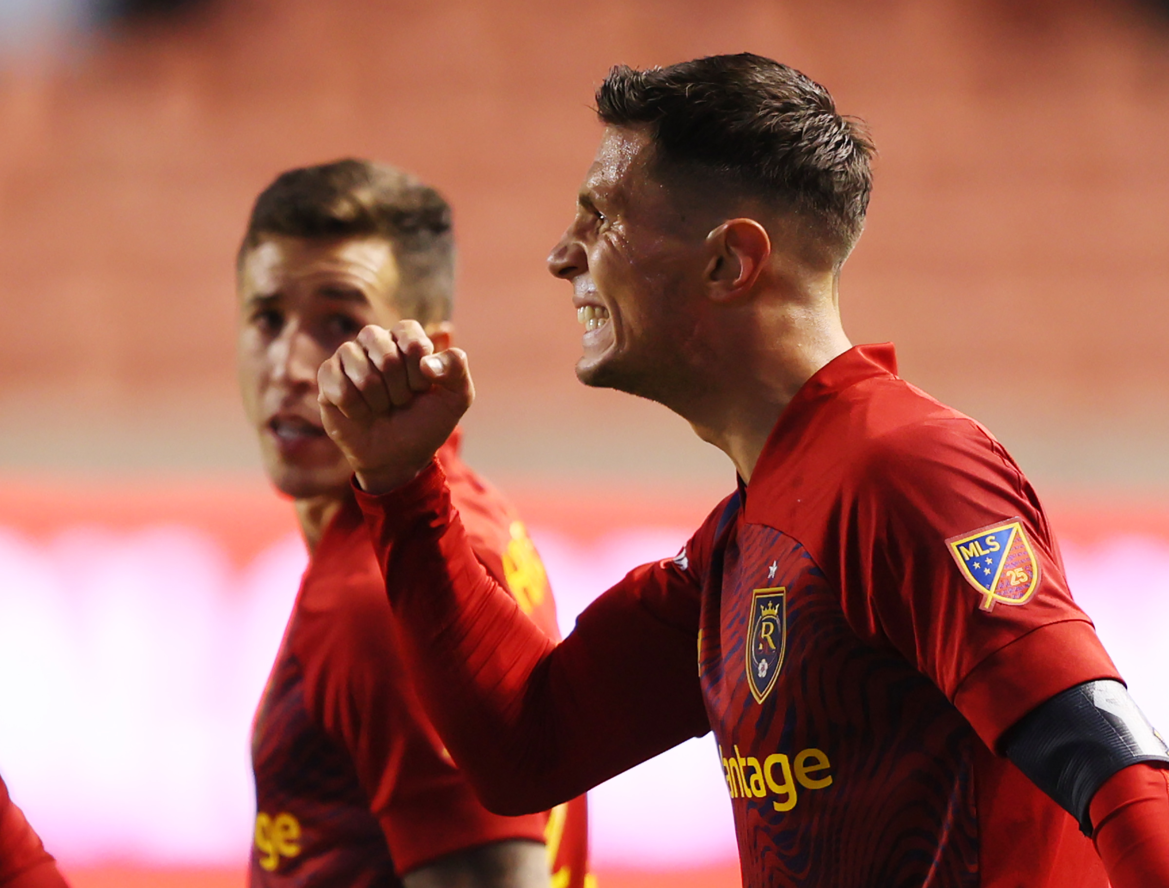 Real Salt Lake midfielder Damir Kreilach (8) celebrates a goal as RSL and Portland play an MLS soccer game at Rio Tinto Stadium in Sandy on Wednesday, Oct. 14, 2020.