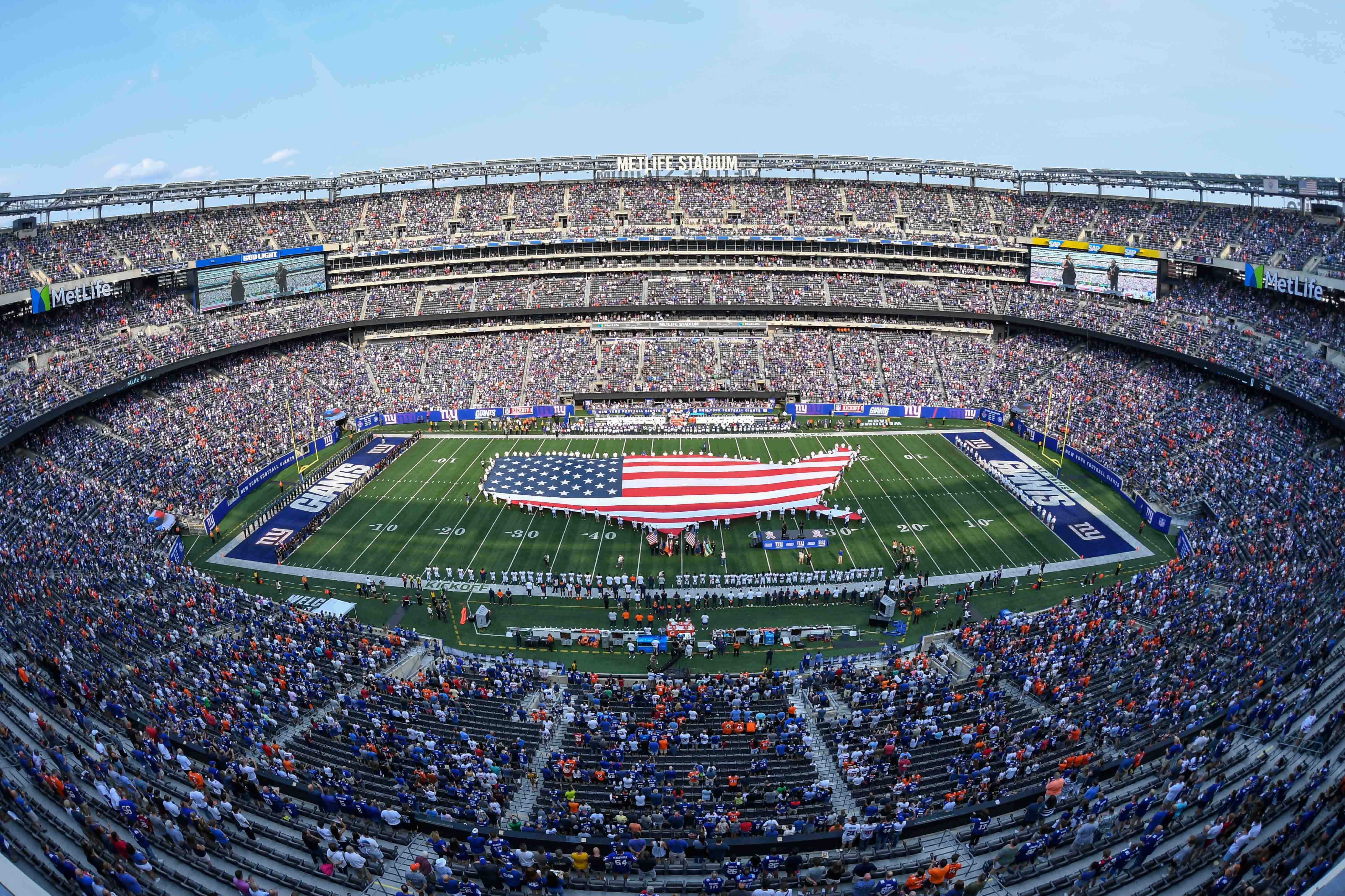 General view during the national anthem before the game between New York Giants and Denver Broncos at MetLife Stadium.