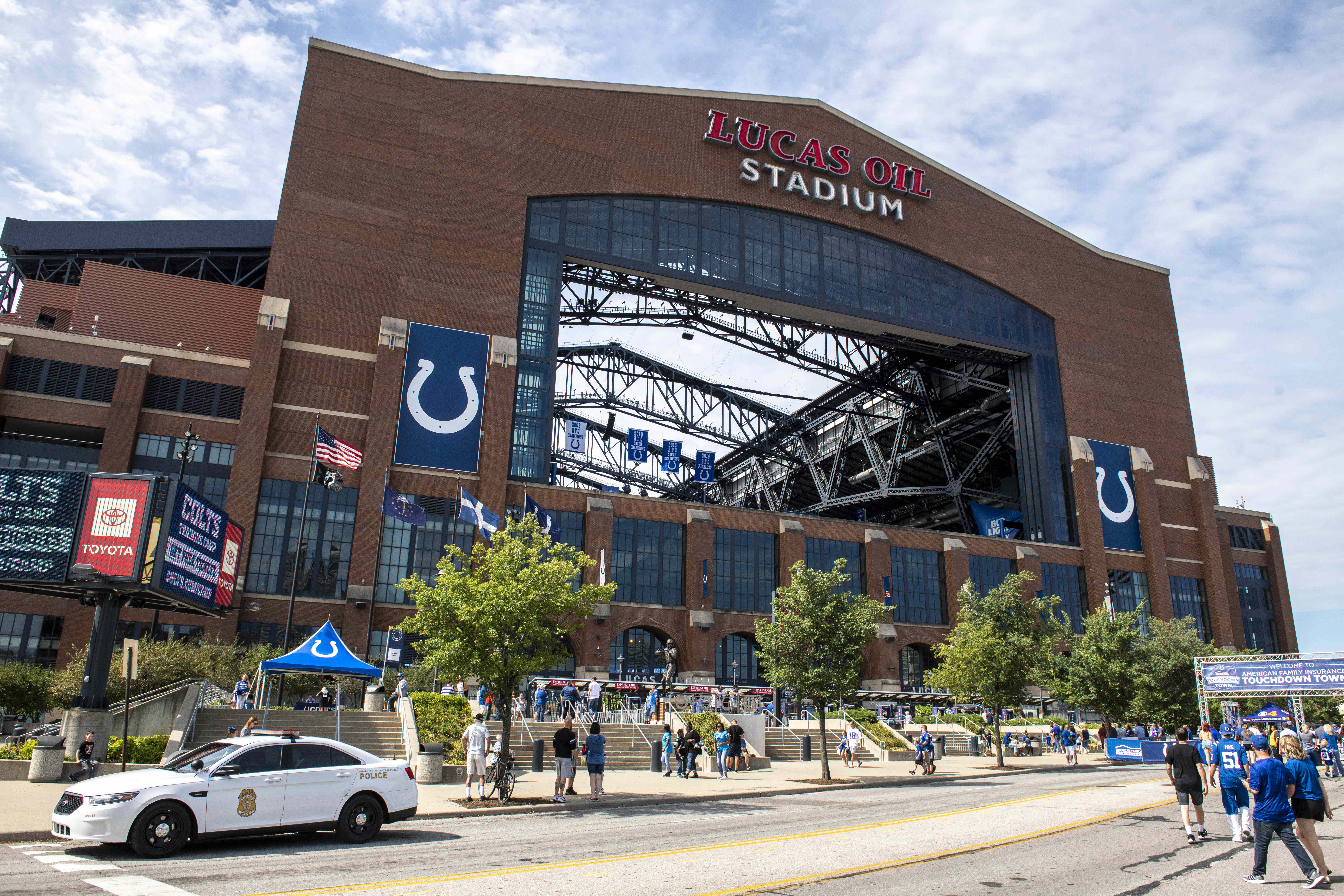 A general view of the exterior of Lucas Oil Stadium before the game between the Carolina Panthers and Indianapolis Colts.