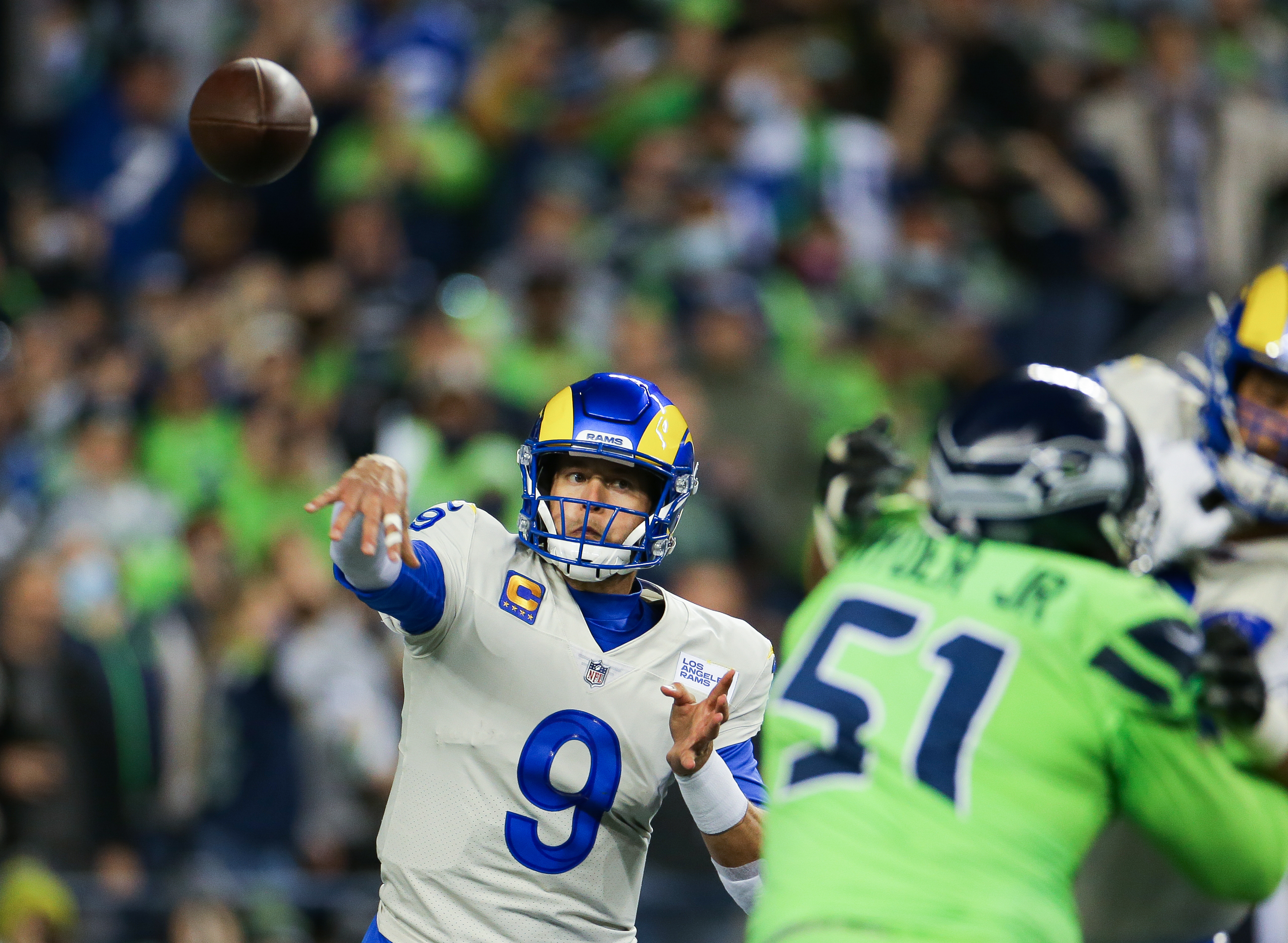 Quarterback Matthew Stafford #9 of the Los Angeles Rams throws in the second half against the Seattle Seahawks at Lumen Field on October 7, 2021 in Seattle, Washington.