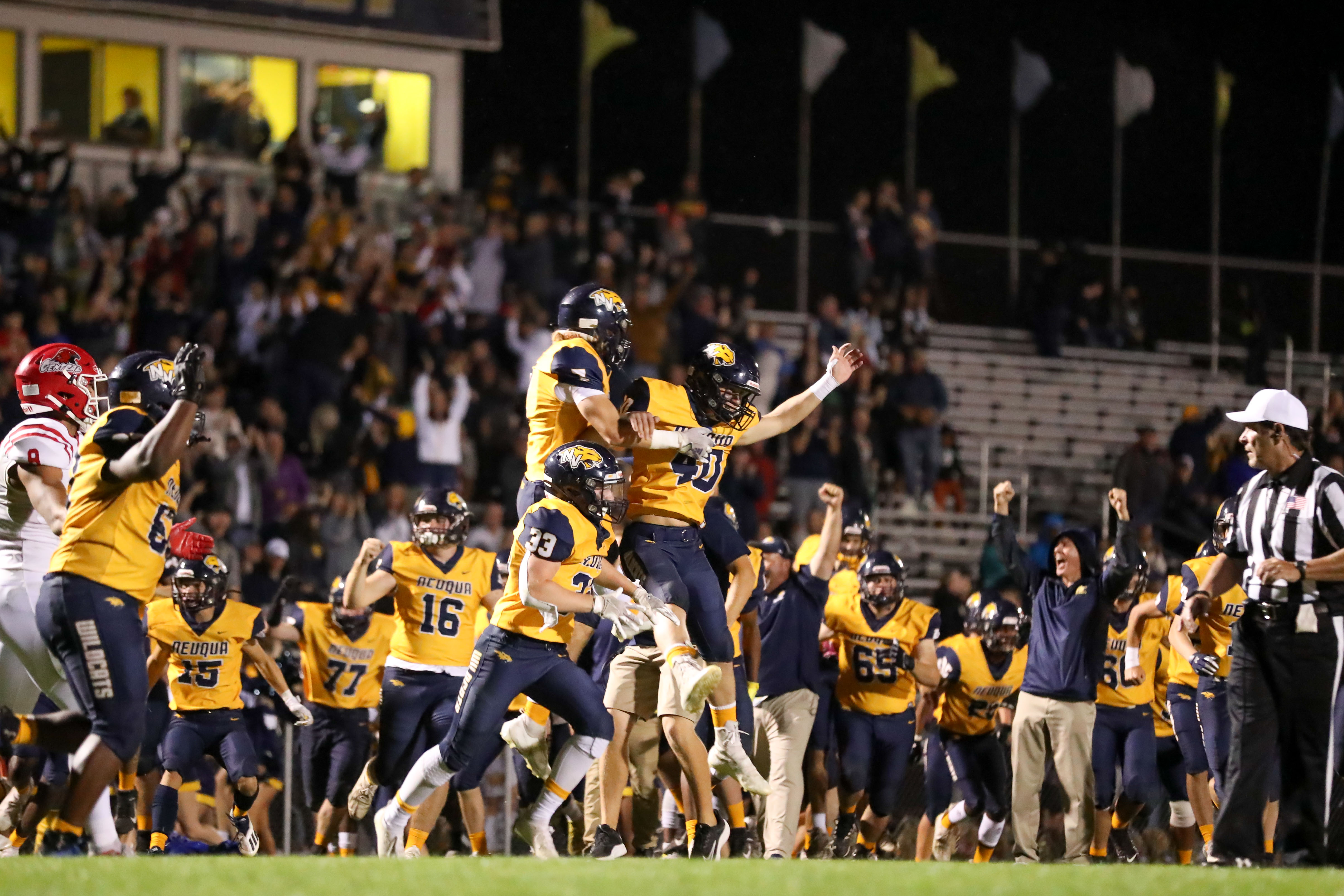 Neuqua Valley players react after winning against Naperville Central.