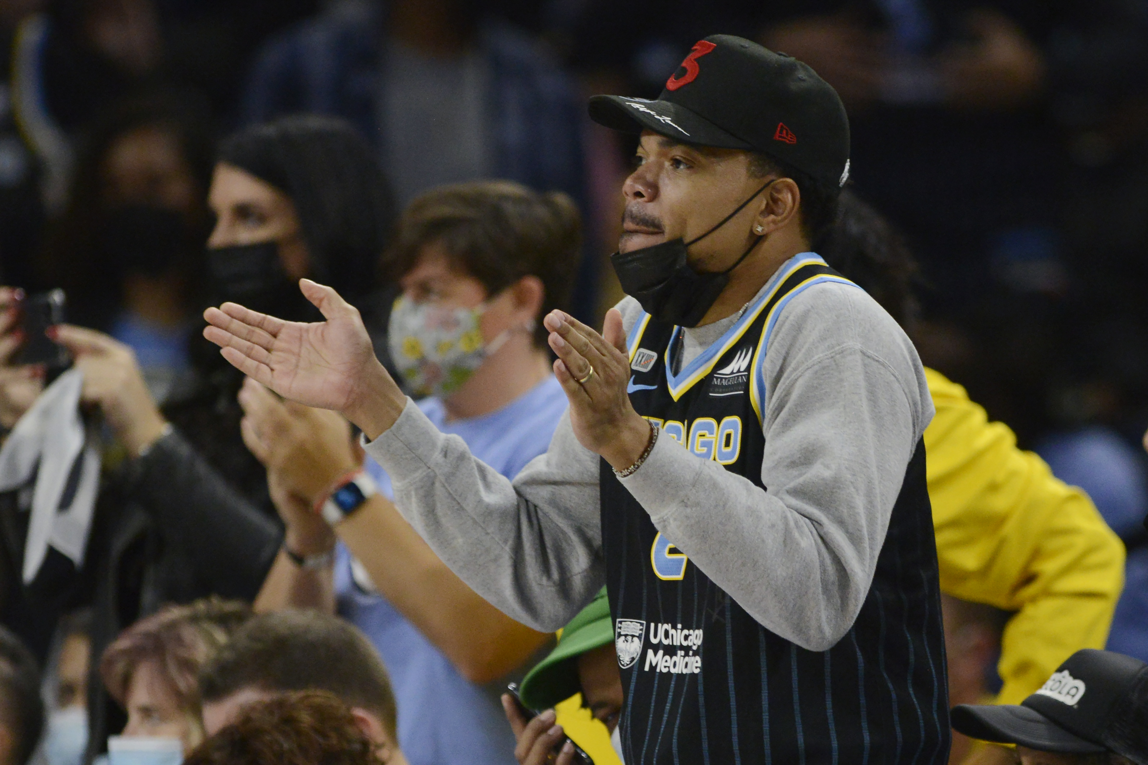 Chance the Rapper cheers during the final seconds of Game 4 of the WNBA Finals at Wintrust Arena. The Sky beat the Mercury to capture the championship.