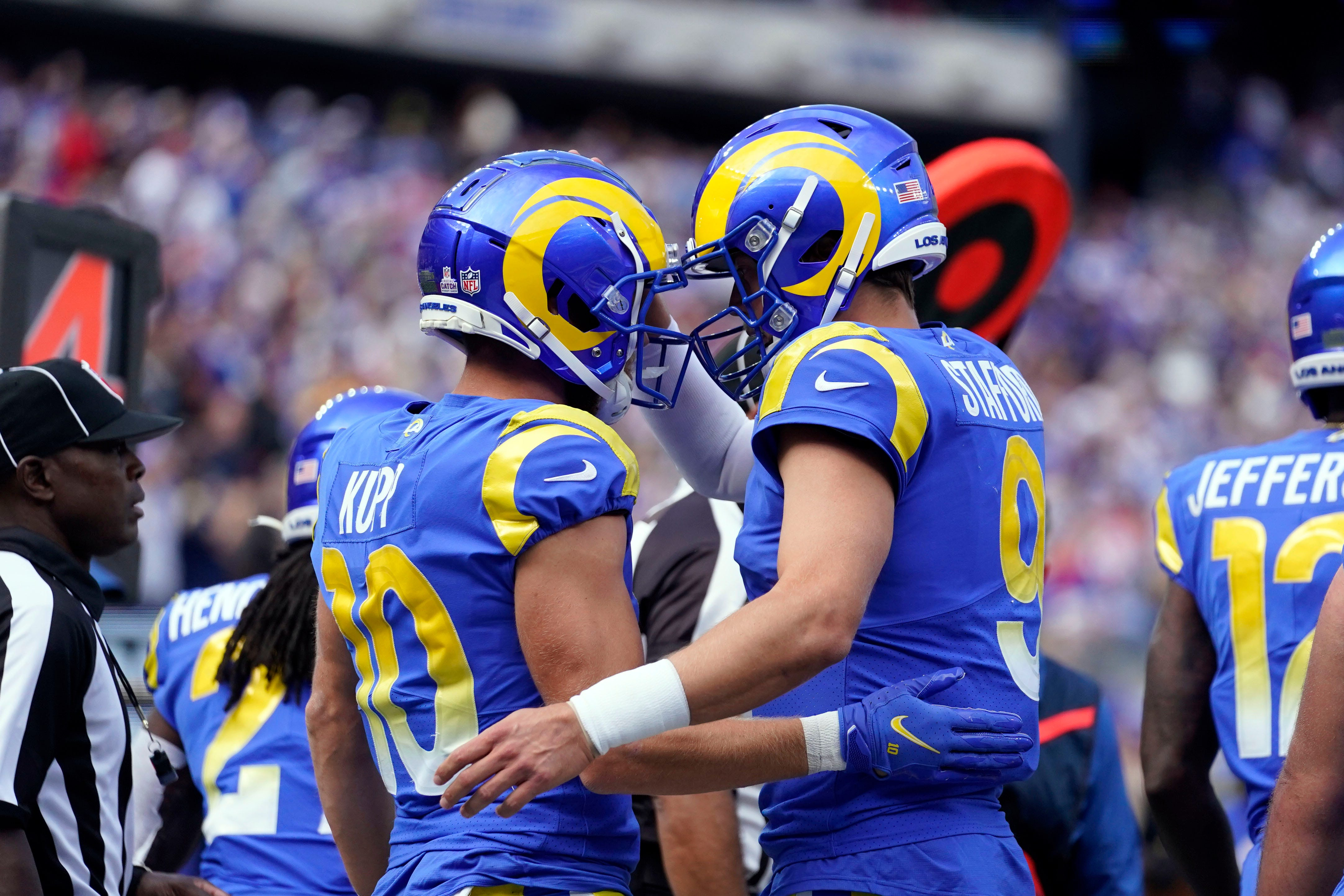 Los Angeles Rams wide receiver Cooper Kupp (10) and quarterback Matthew Stafford (9) celebrate their touchdown. The Giants fall to the Rams, 38-11, at MetLife Stadium on Sunday, Oct. 17, 2021, in East Rutherford.
