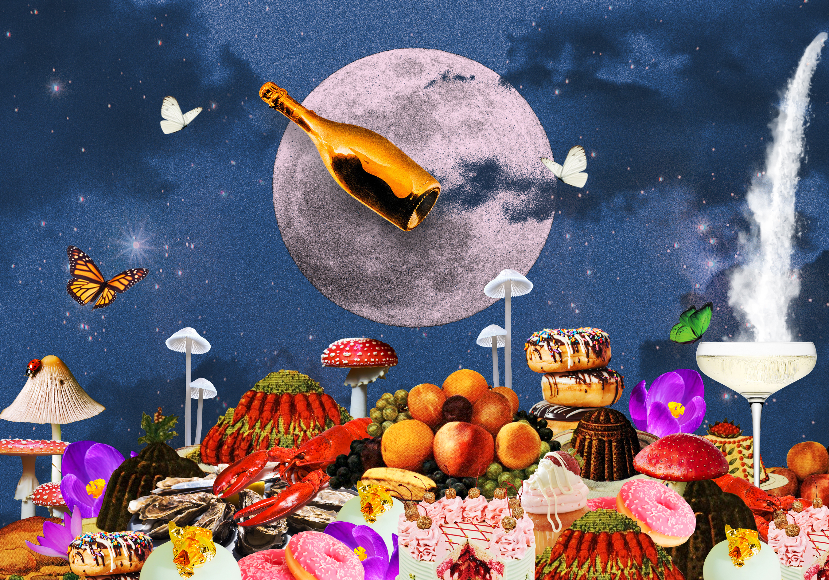 An impressionistic illustration of a full moon on a night sky, with a cornucopia of Alice in Wonderland-like food in front.