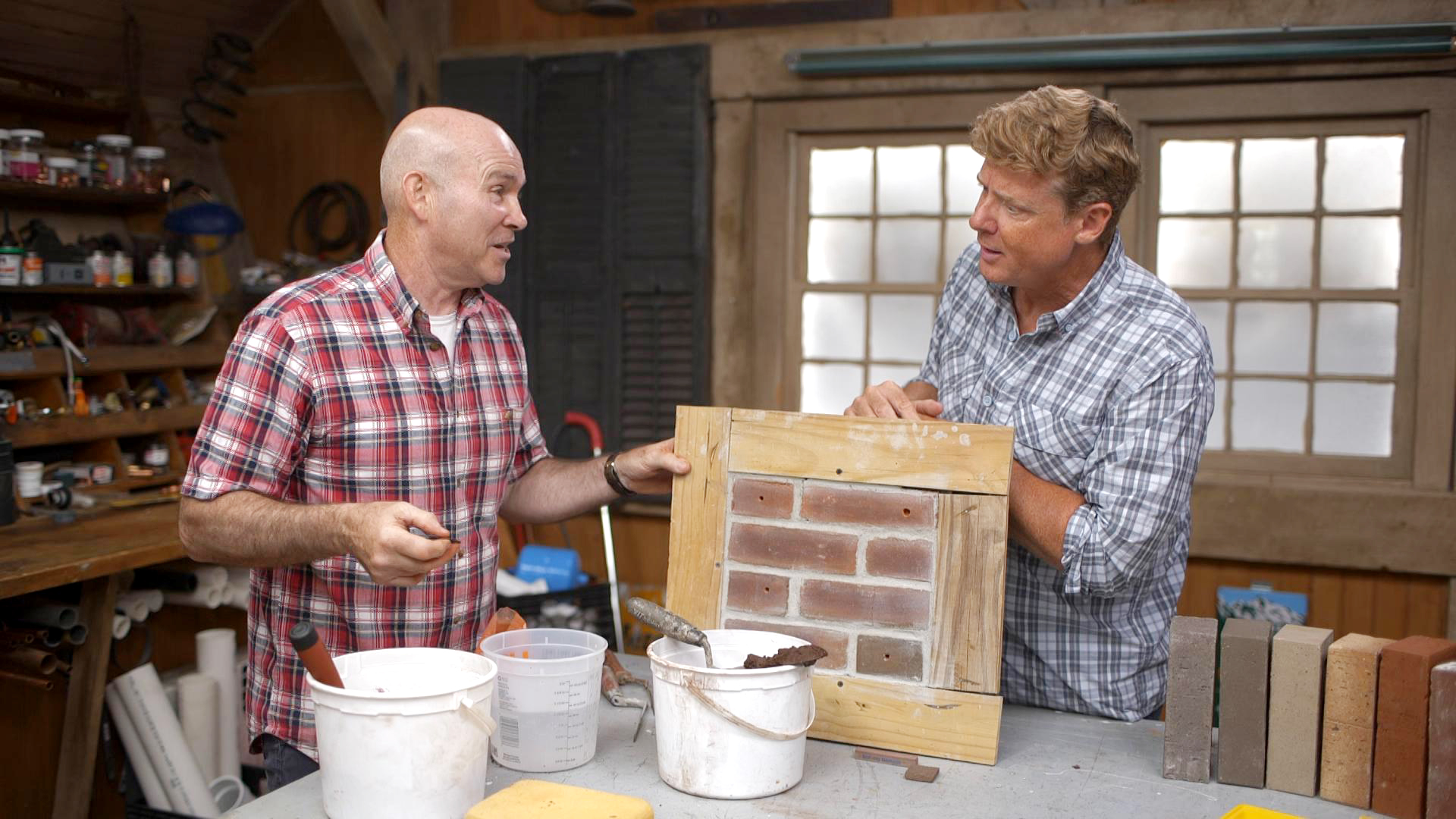 S20 E3, Mark McCullough demonstrates filling holes in brick