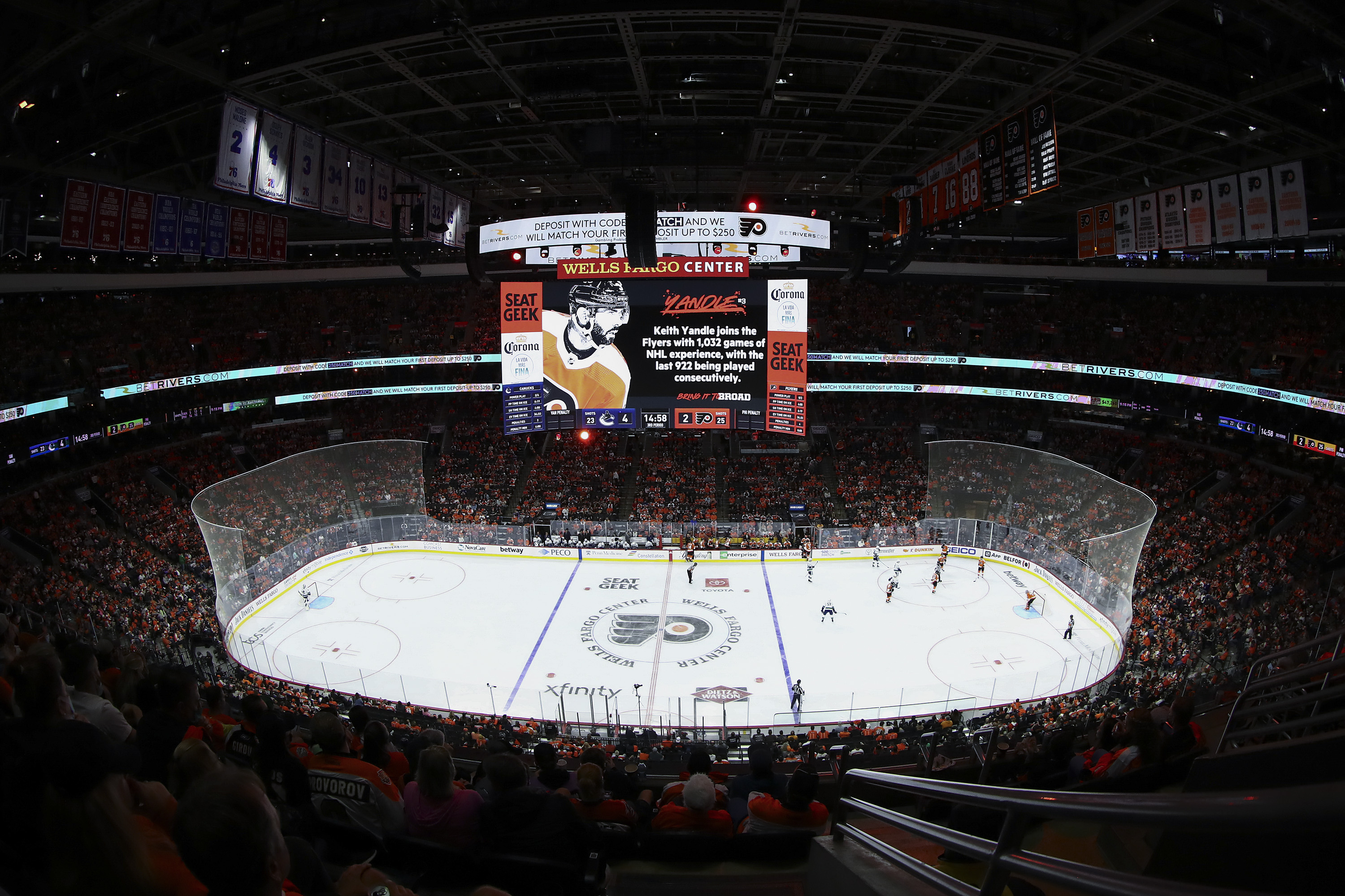 A general view during a game between the Vancouver Canucks and Philadelphia Flyers at Wells Fargo Center on October 15, 2021 in Philadelphia, Pennsylvania.