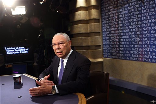 """Former Secretary of State General Colin Powell appears on the CBS talk show """"Face the Nation."""""""