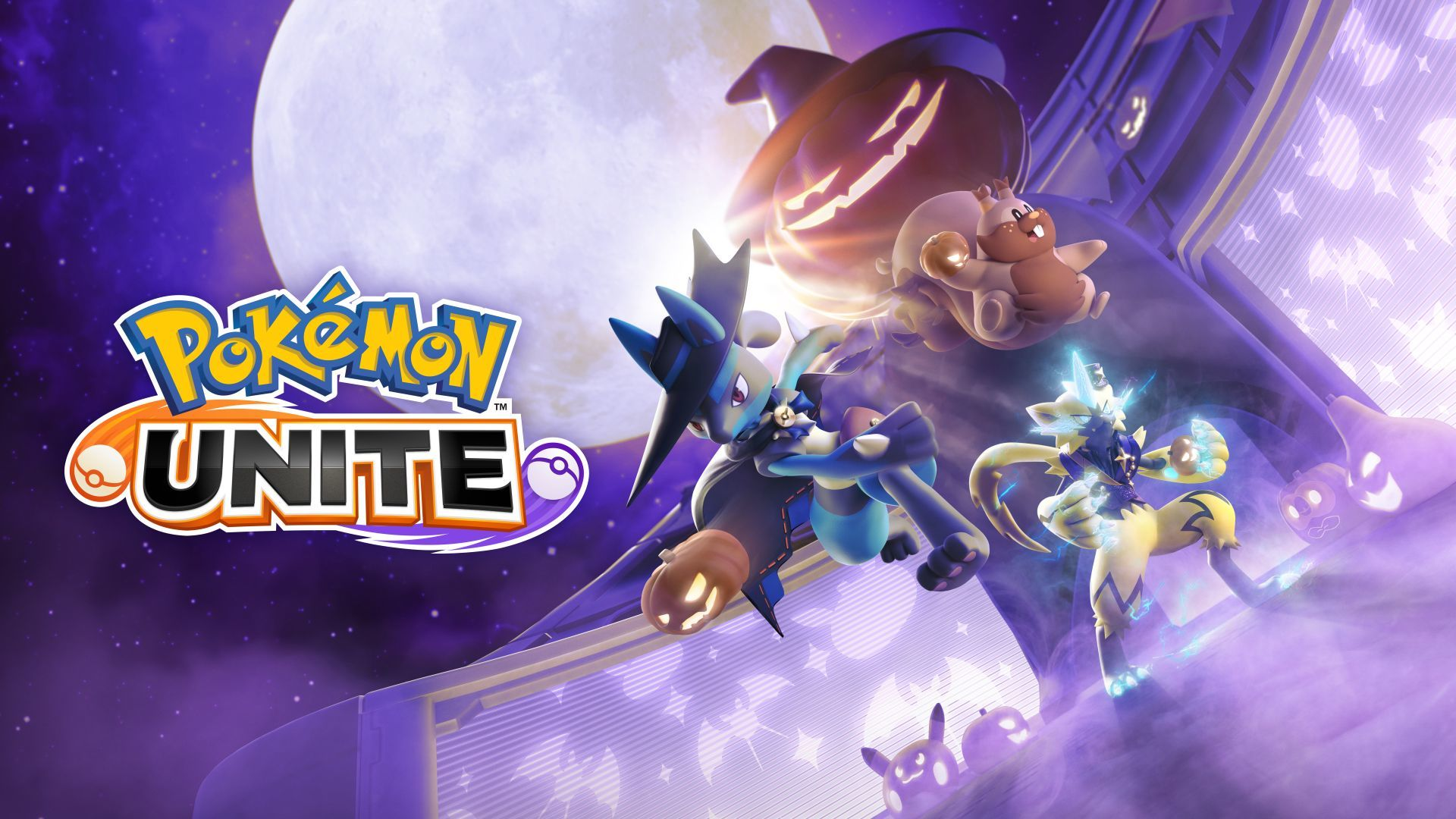 Pokémon Unite Halloween event art with Lucario and Greedent