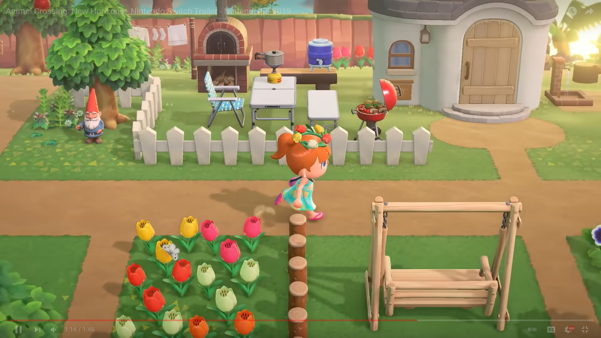 a red haired character running by a white picket fence