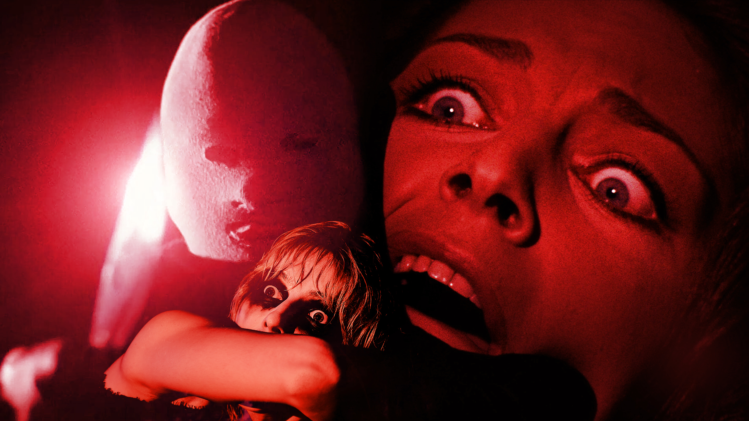 Photo montage of two women looking terrified and a masked person holding a glinting knife