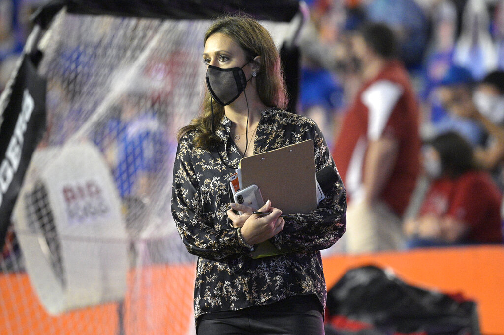 ESPN sideline reporter Allison Williams at the football game between Florida and Arkansas.