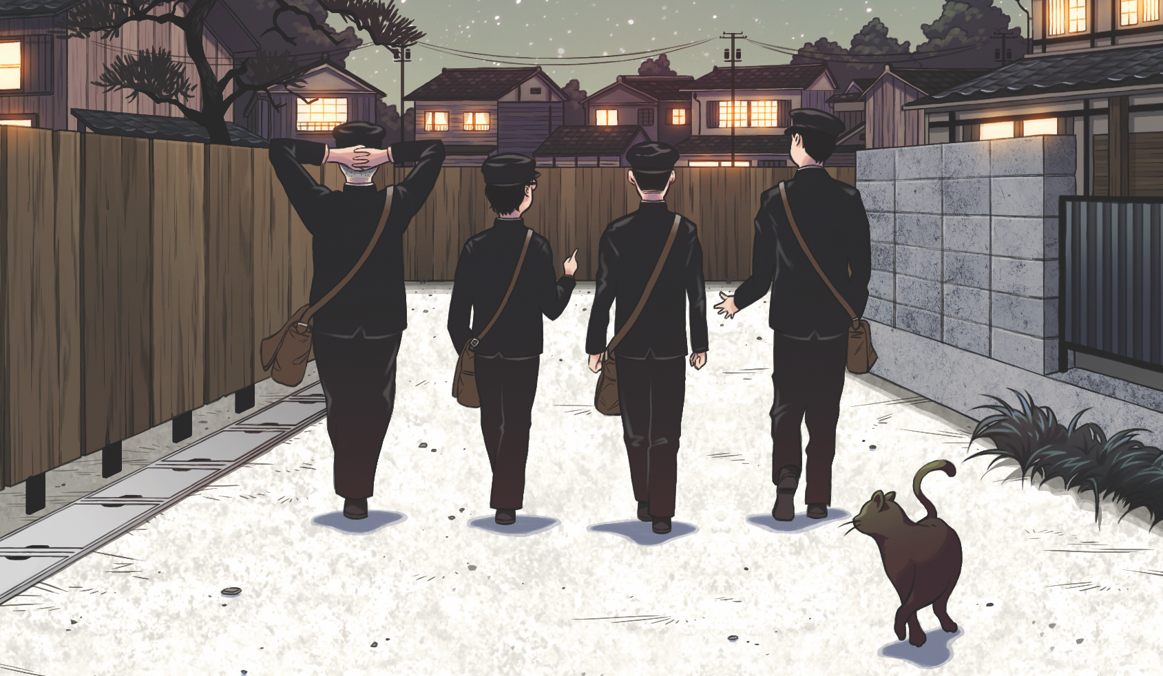 A detail from the cover of Algonquin Books' 2021 translation of Genzaburo Yoshino's novel How Do You Live?, with four Japanese schoolboys walking together on an outdoor passage between residential homes, with a cat in the foreground