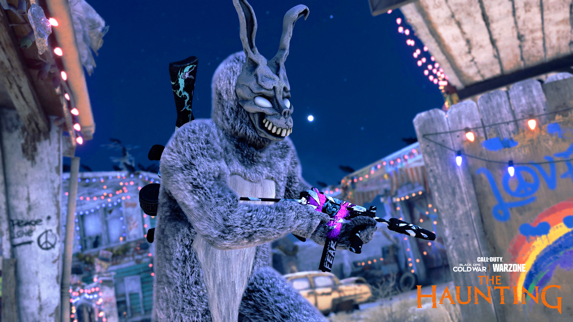 Frank the Rabbit runs with a colorful gun in a screenshot from Call of Duty's The Haunting event