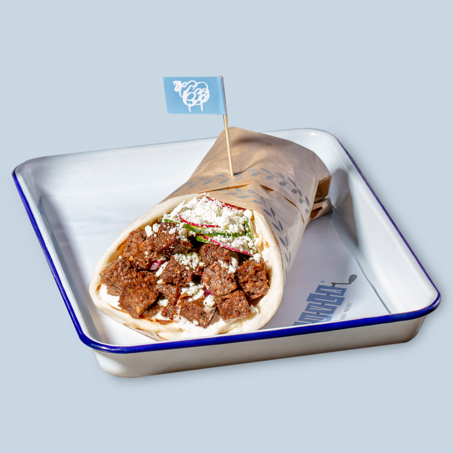 A Souvla wrap filled with their new lab-grown lamb